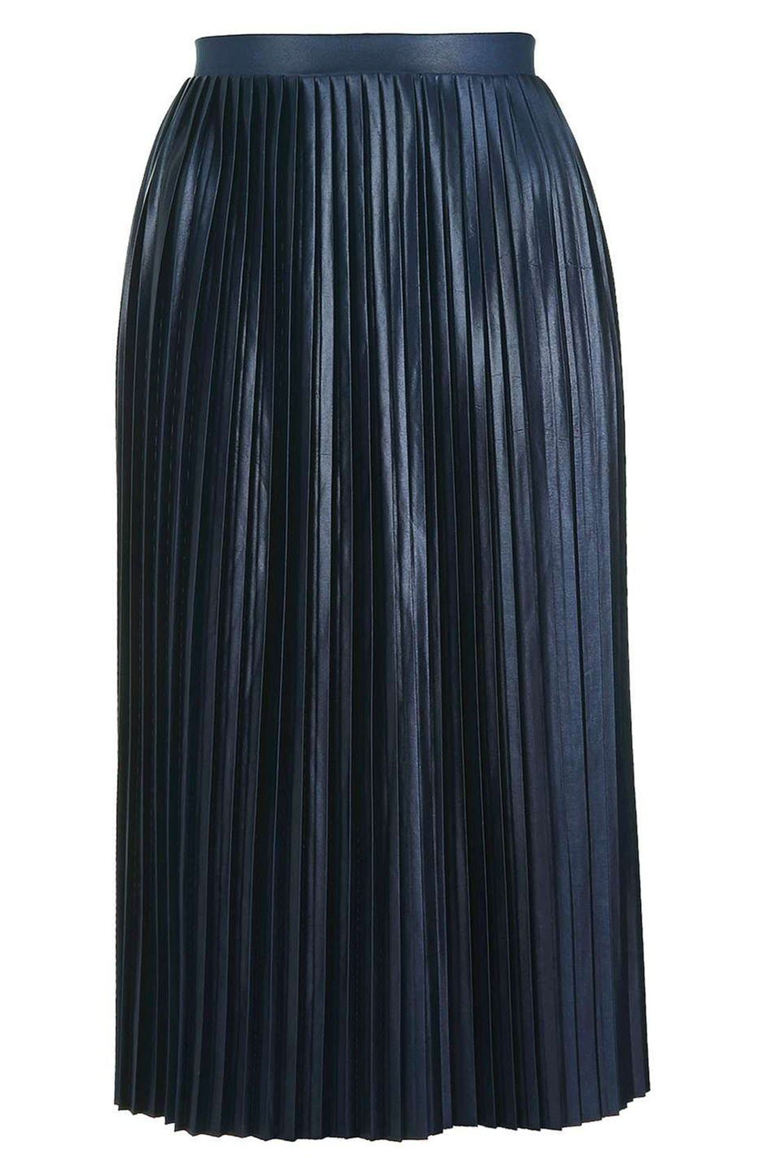 TOPSHOP,                             Pleat Jersey Midi Skirt,                             Alternate thumbnail 4, color,                             410