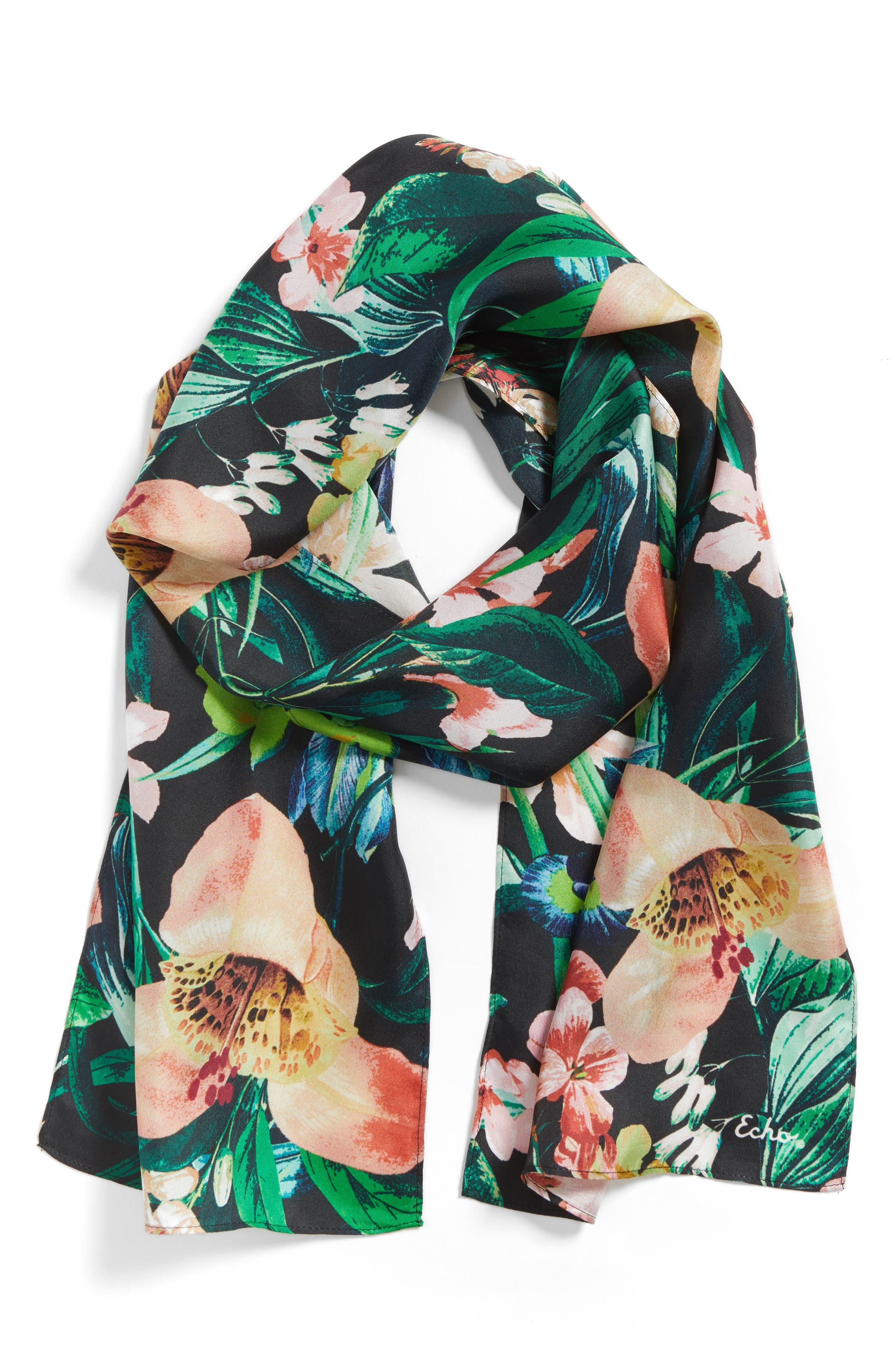 Tropic Floral Silk Scarf,                             Alternate thumbnail 2, color,                             001