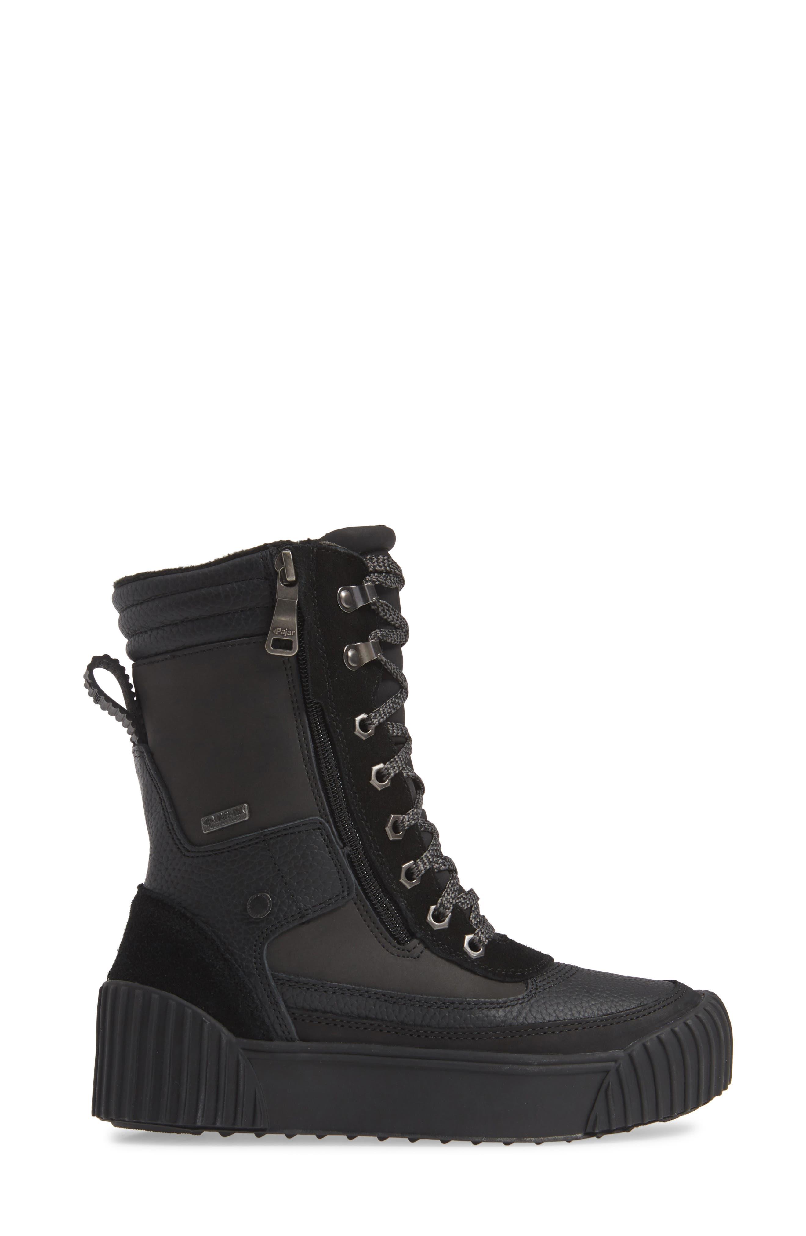 PAJAR,                             Roya Waterproof Sneaker Boot,                             Alternate thumbnail 3, color,                             BLACK
