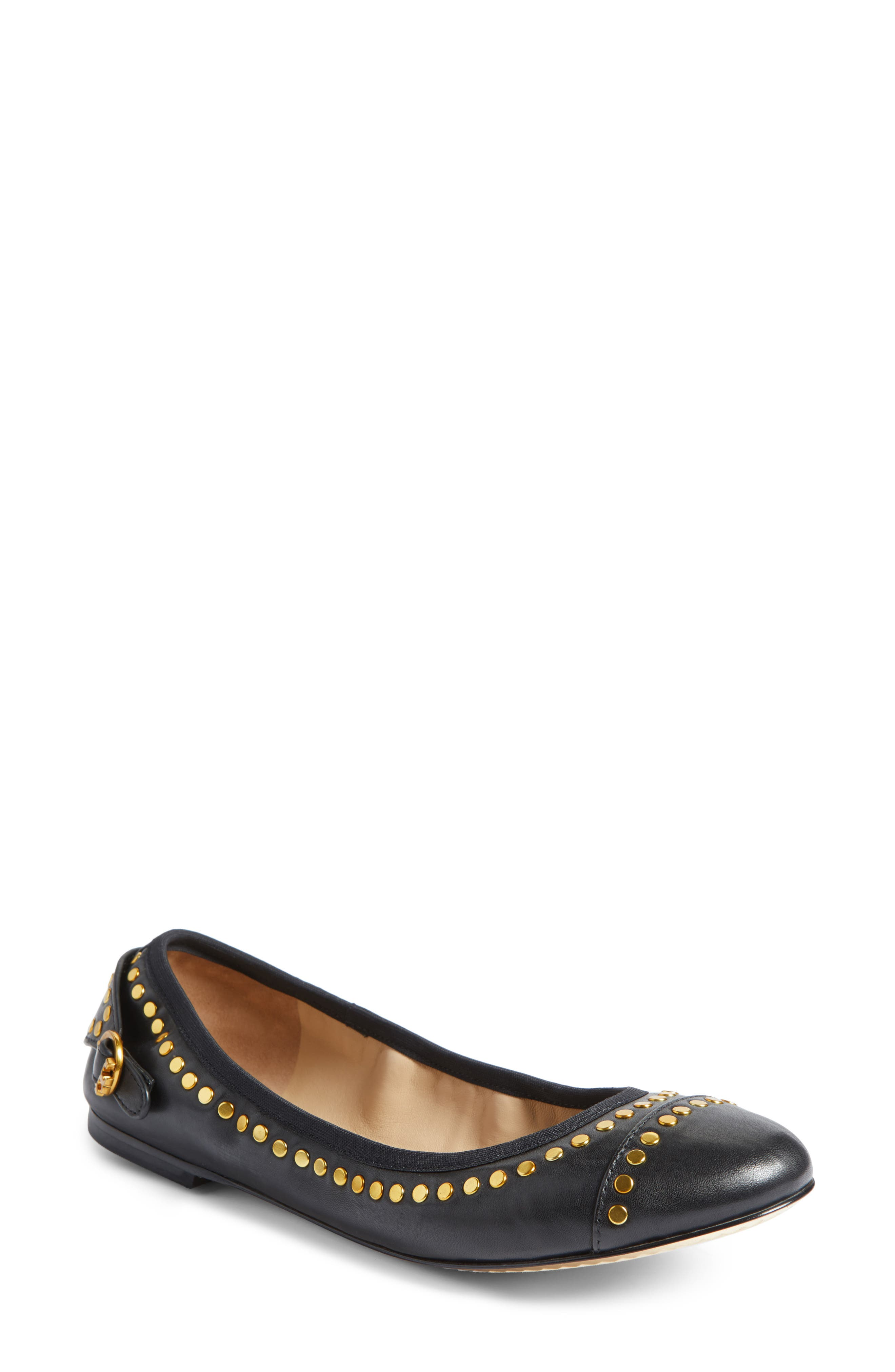 Holden Studded Cap Toe Flat,                         Main,                         color, 001
