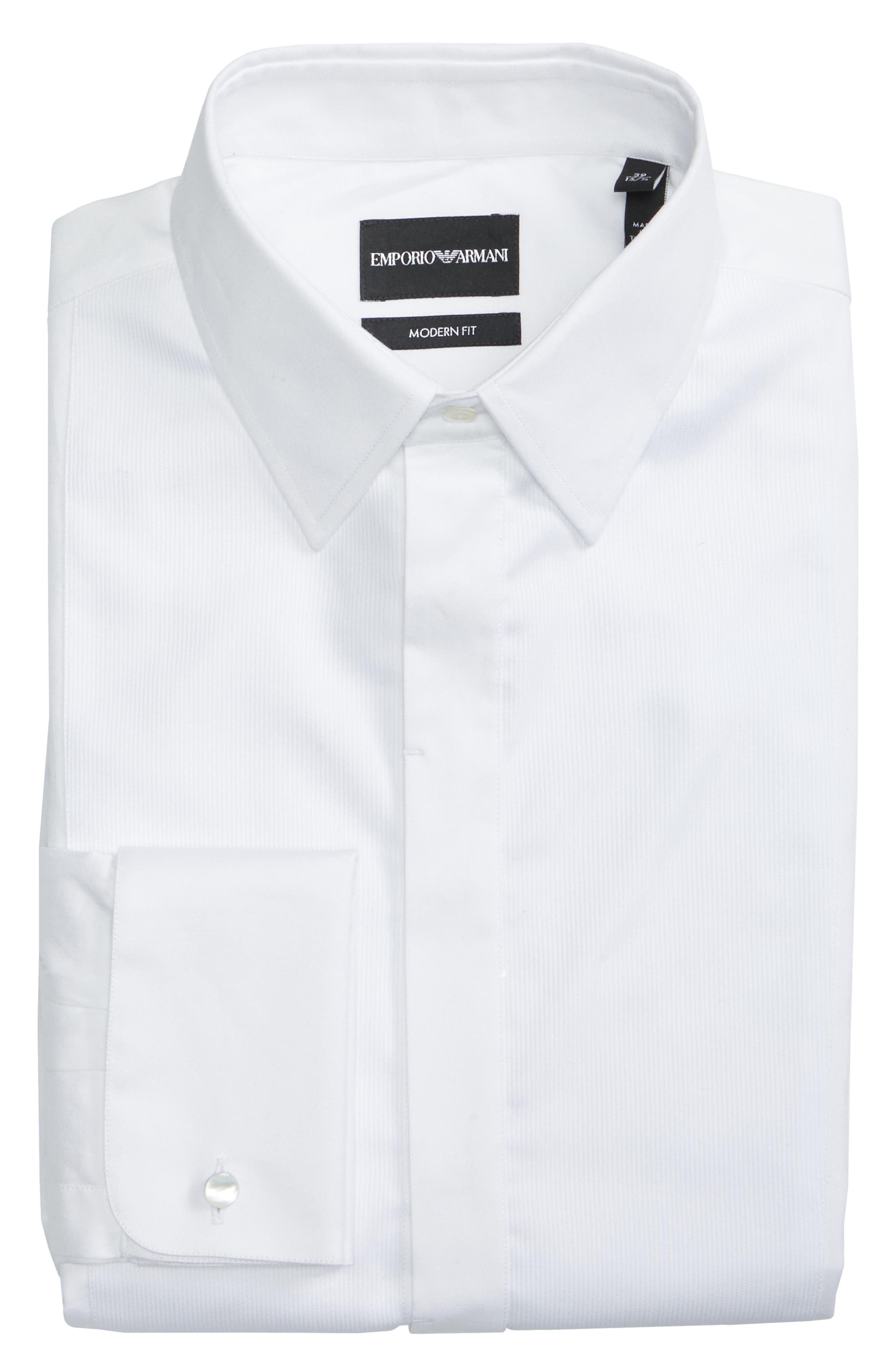 Trim Fit Stretch Tuxedo Shirt,                             Alternate thumbnail 5, color,                             SOLID WHITE