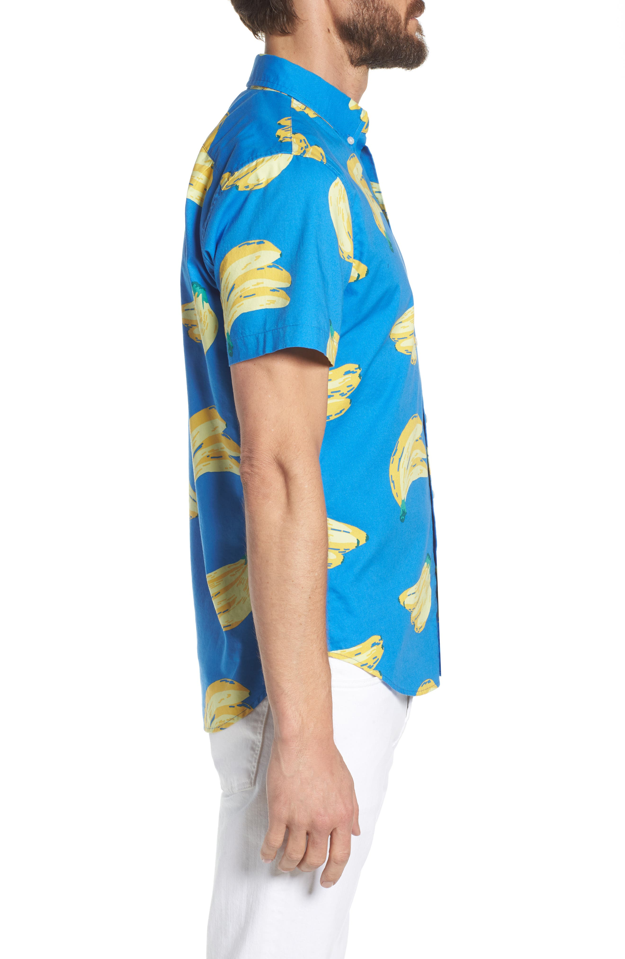 Slim Fit Print Sport Shirt,                             Alternate thumbnail 3, color,