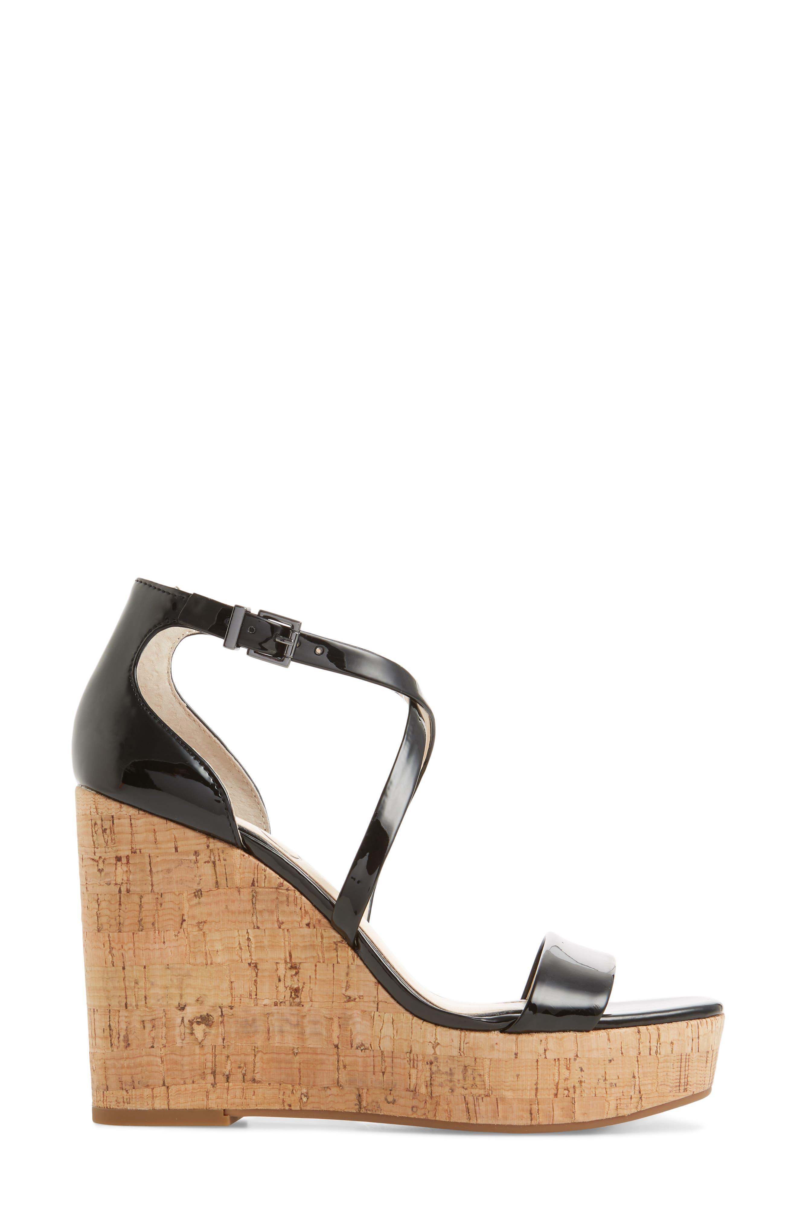 Stassi Cross Strap Wedge Sandal,                             Alternate thumbnail 3, color,                             001