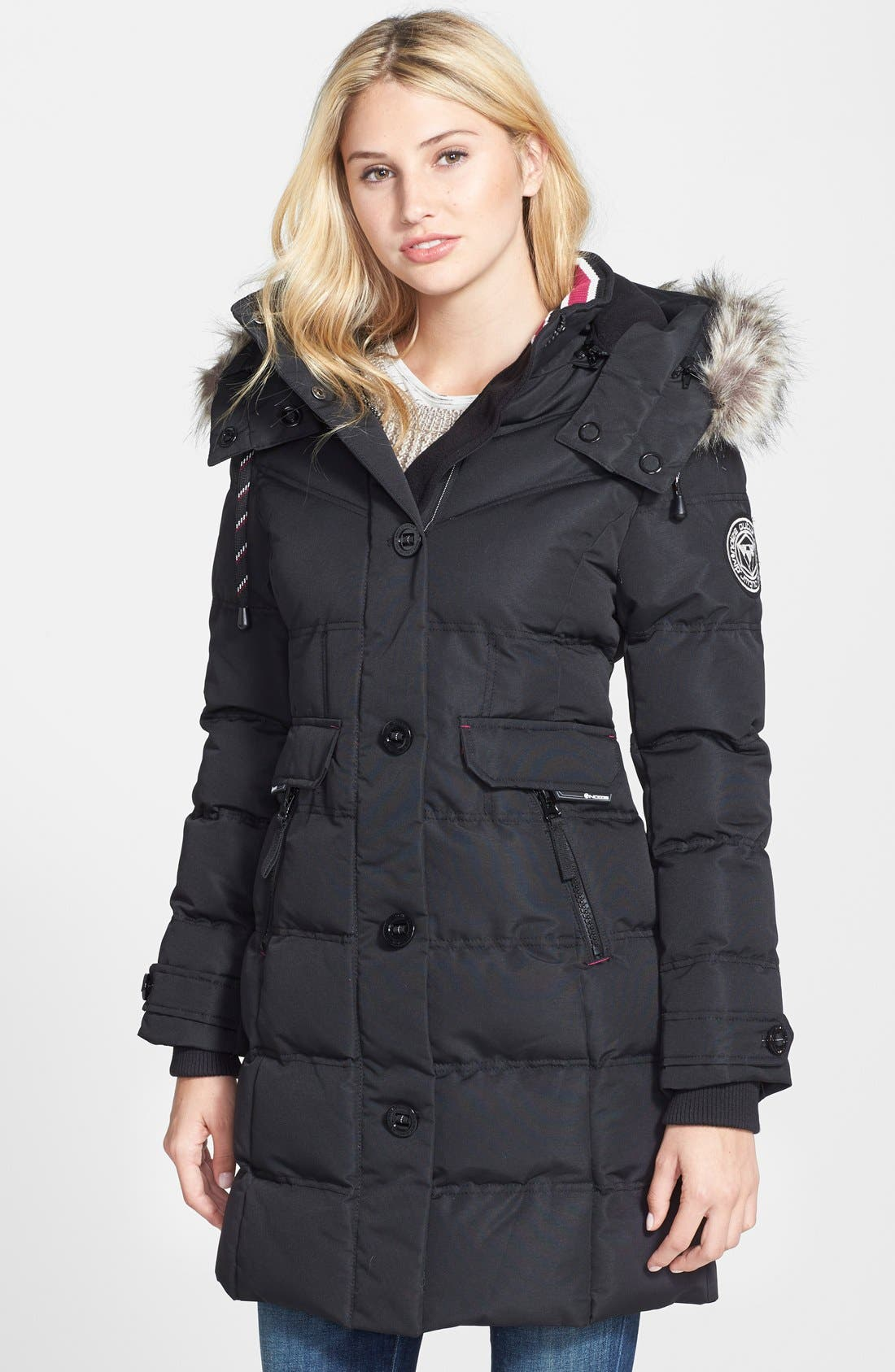 NOIZE,                             Full Length Parka with Faux Fur Trim,                             Main thumbnail 1, color,                             001