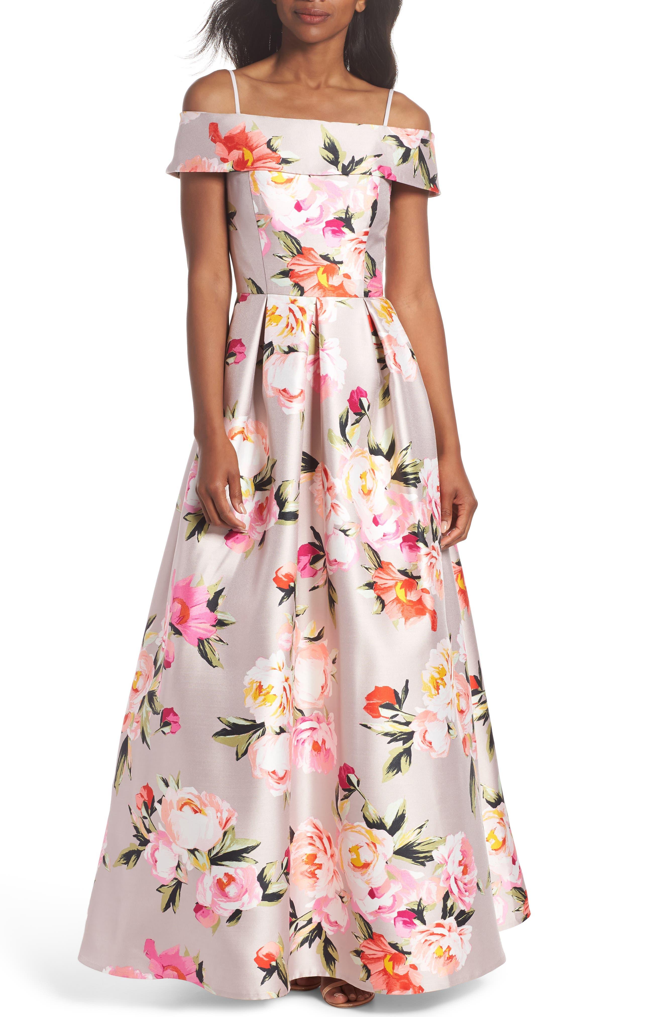 Floral Off the Shoulder Mikado Gown,                             Alternate thumbnail 3, color,                             254