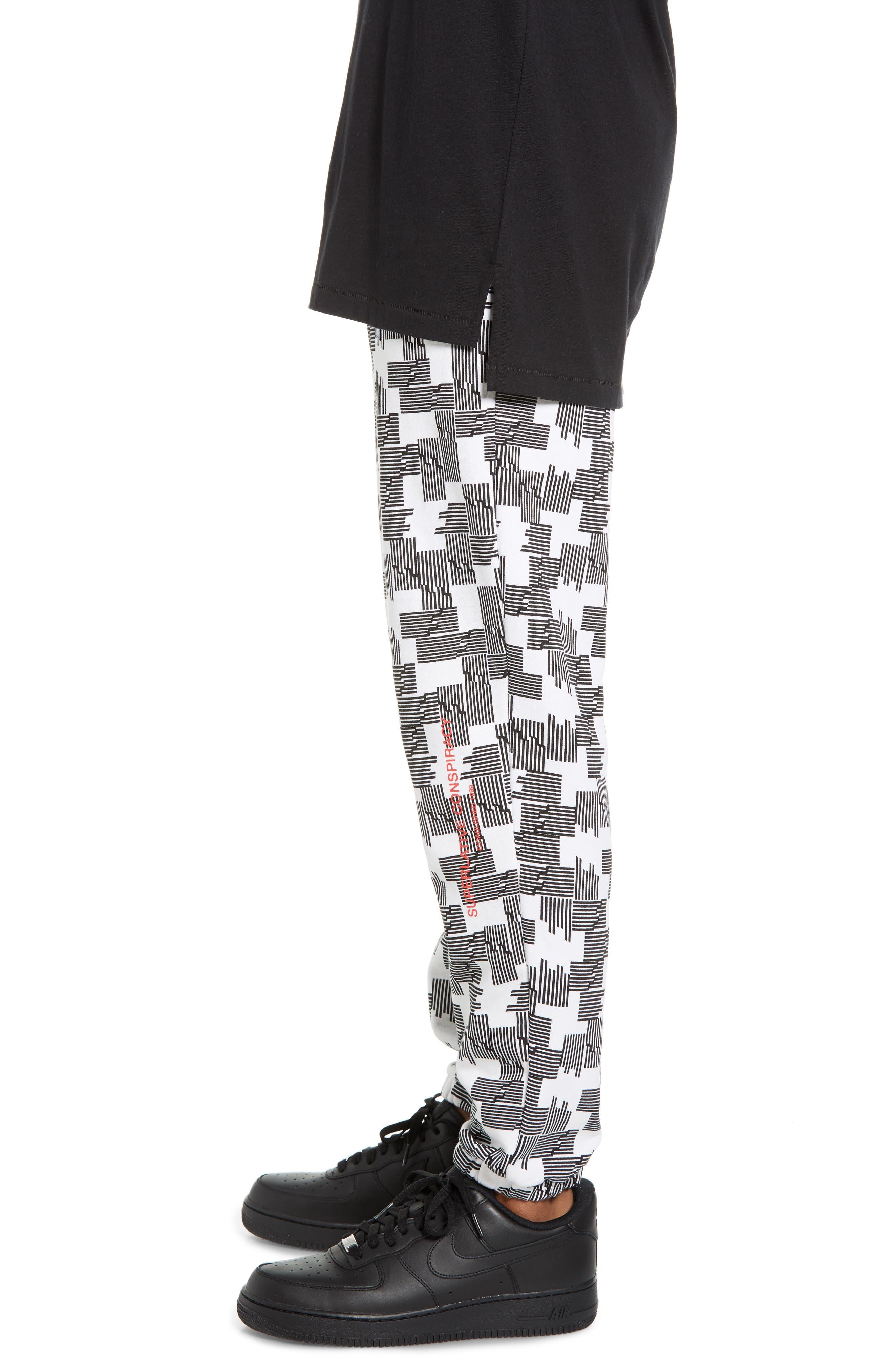 Baker Puzzle Check Sweatpants,                             Alternate thumbnail 3, color,                             BLACK