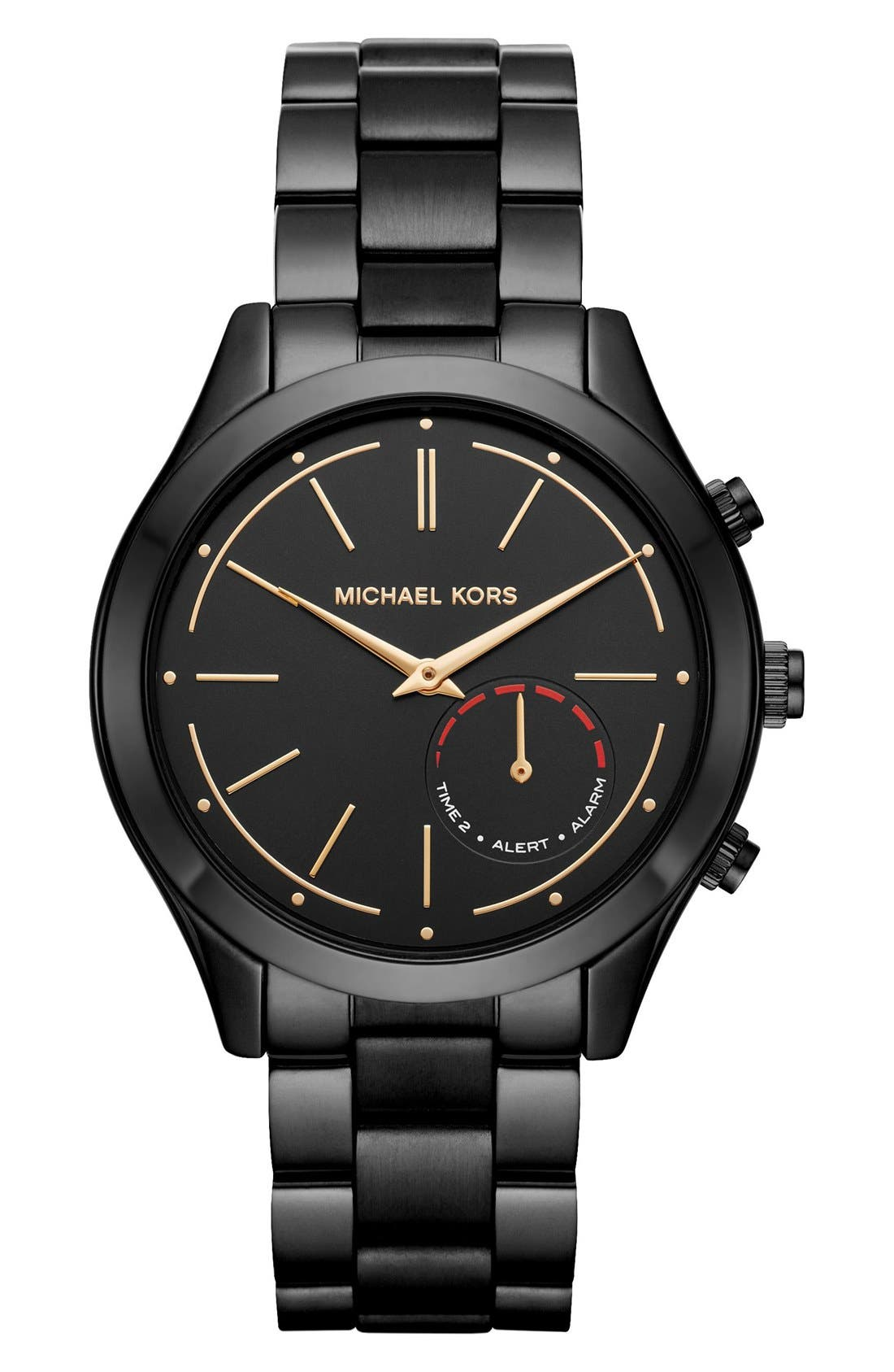 MICHAEL Michael Kors Slim Runway Smart Watch, 42mm,                         Main,                         color, BLACK