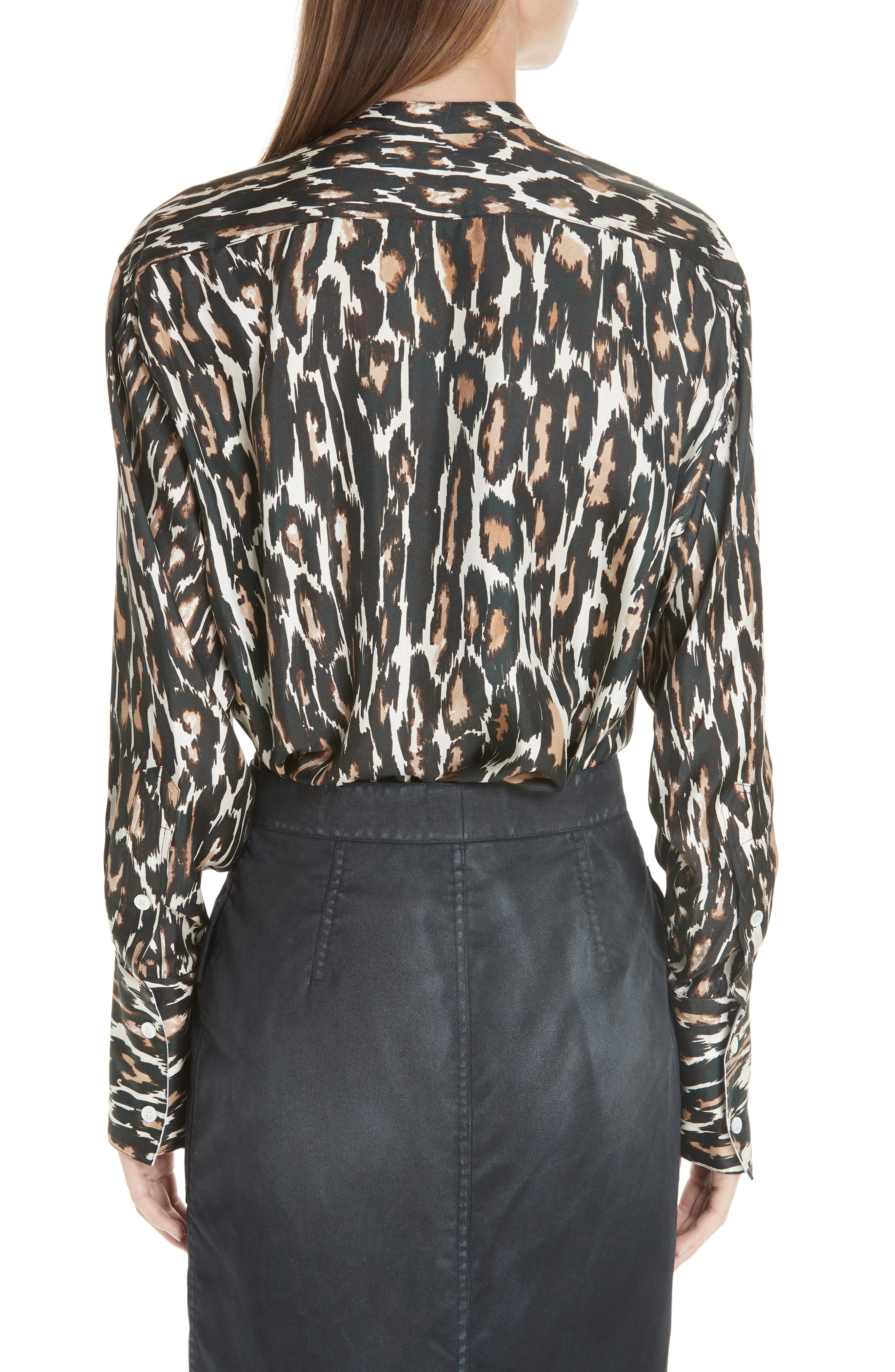 Leopard Print Silk Twill Blouse,                             Alternate thumbnail 2, color,                             IVORY BROWN BLACK BEIGE
