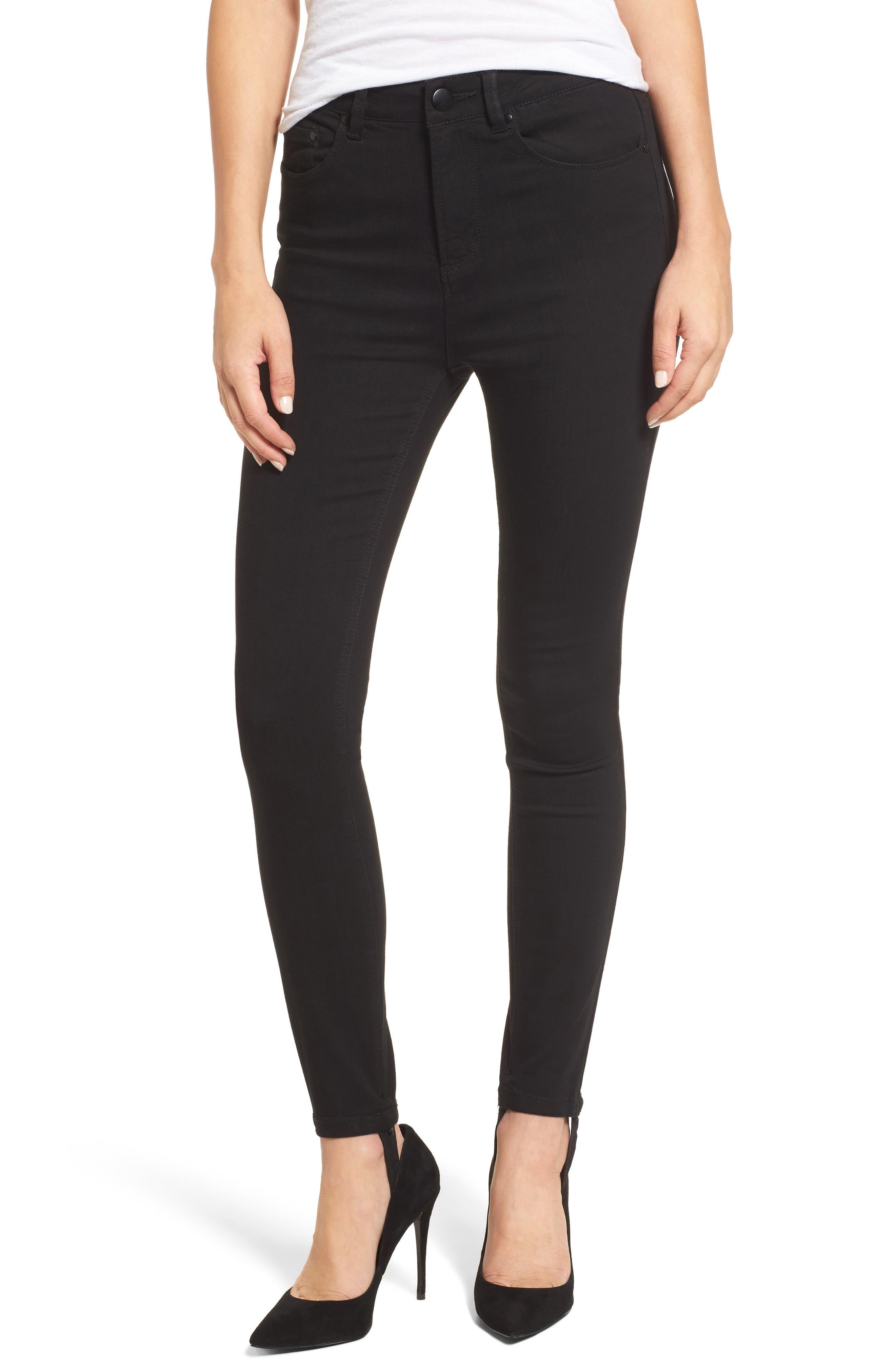 Luma High Waist Skinny Stirrup Jeans,                         Main,                         color, 002