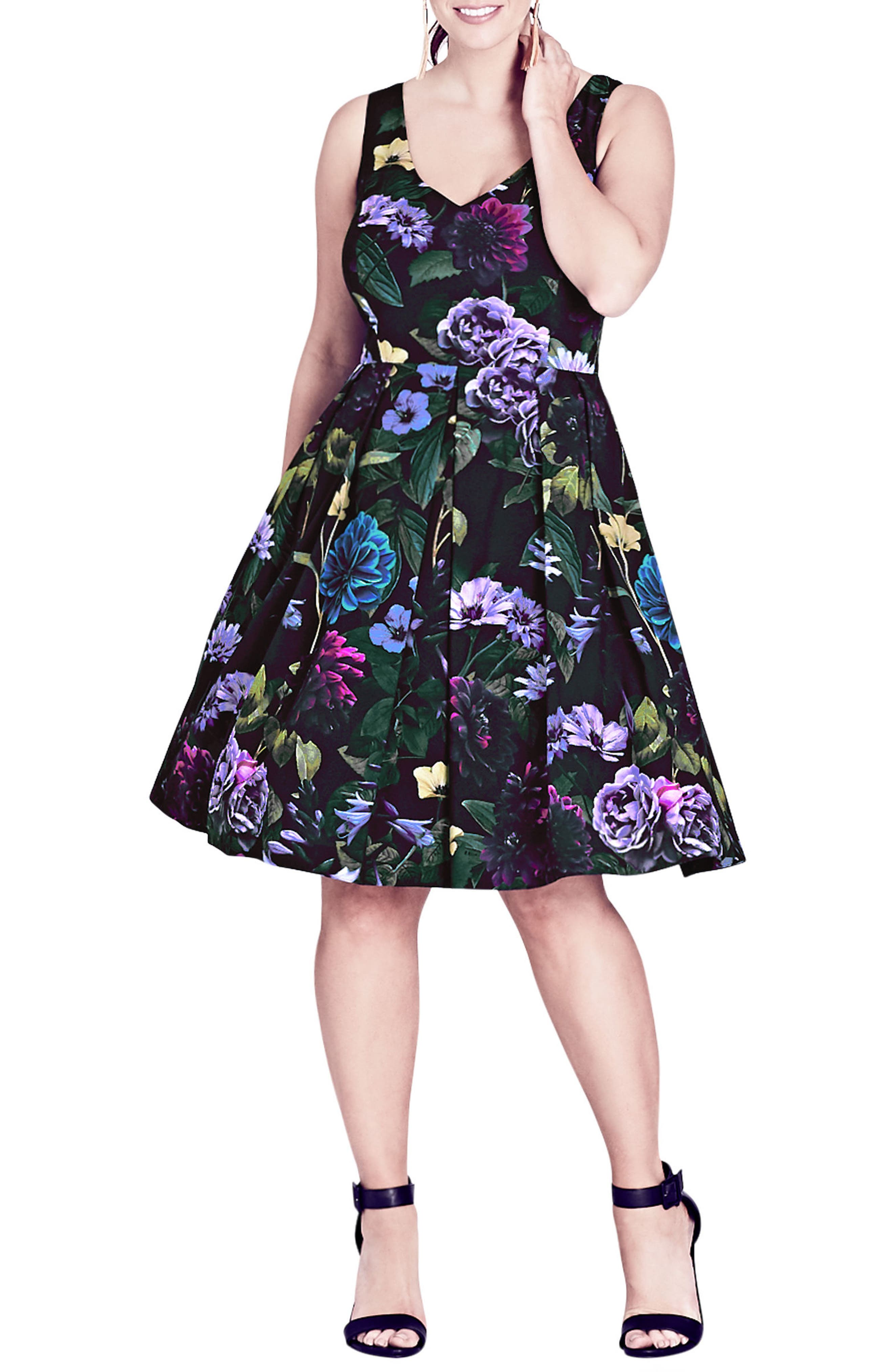 Perfect Floral Fit & Flare Dress,                             Main thumbnail 1, color,                             001