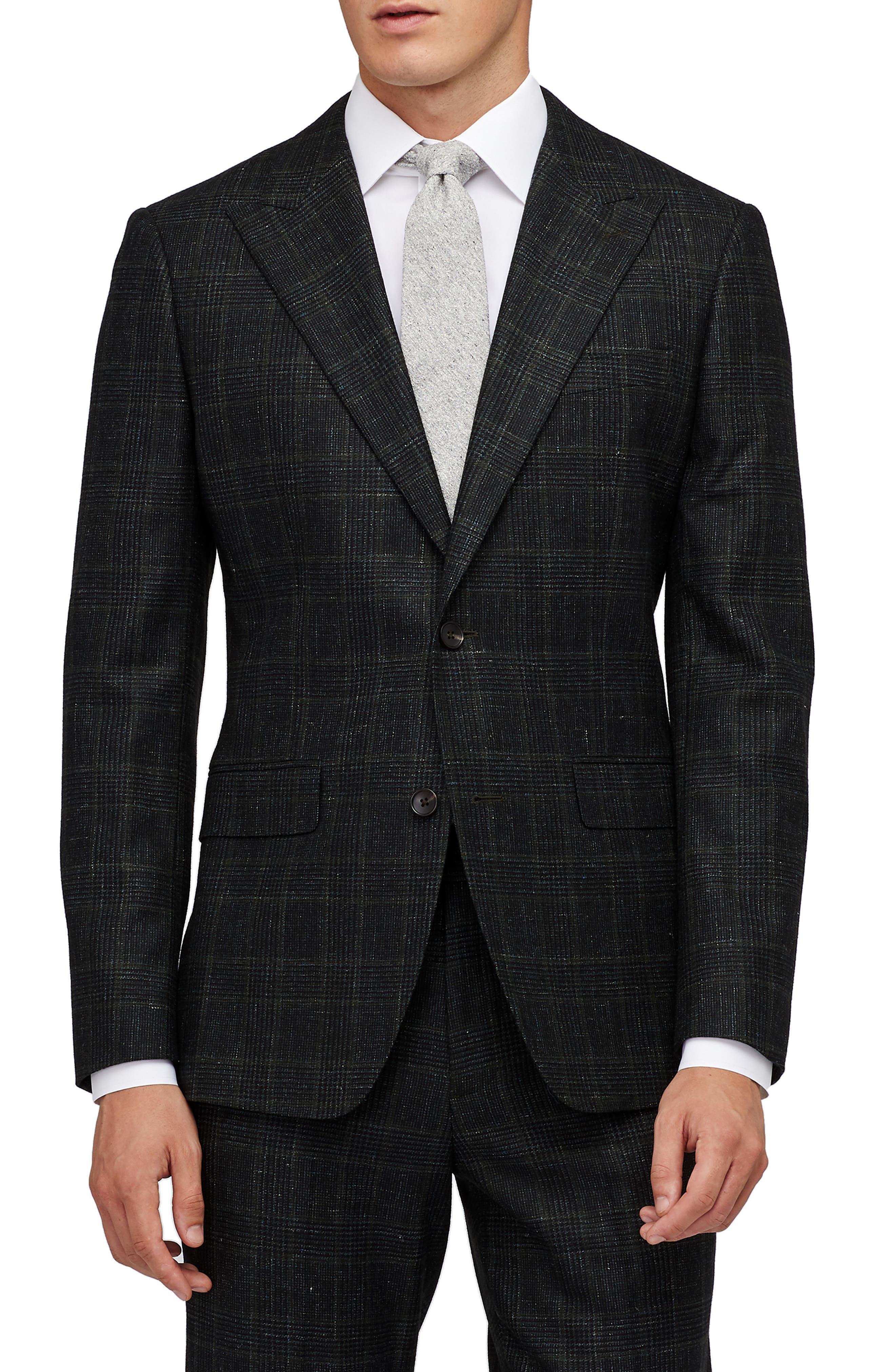 Premium Slim Fit Glen Plaid Wool & Linen Sport Coat,                         Main,                         color, HAYDEN GREEN GLENPLAID