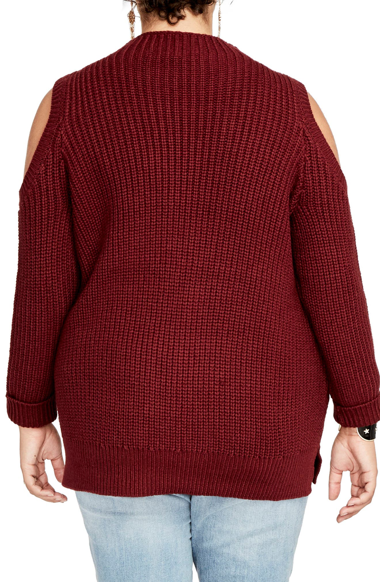 Cold Shoulder Cable Sweater,                             Alternate thumbnail 5, color,