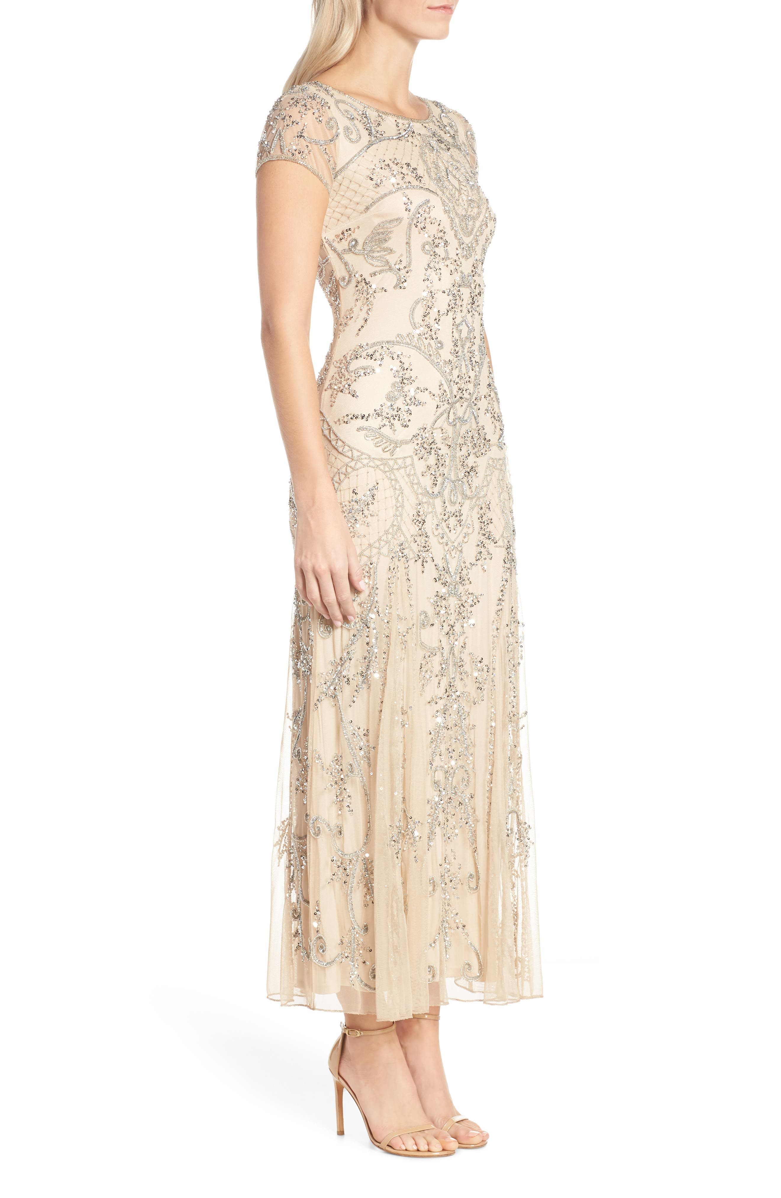 Embellished Mesh Gown,                             Alternate thumbnail 3, color,                             CHAMPAGNE/ SILVER