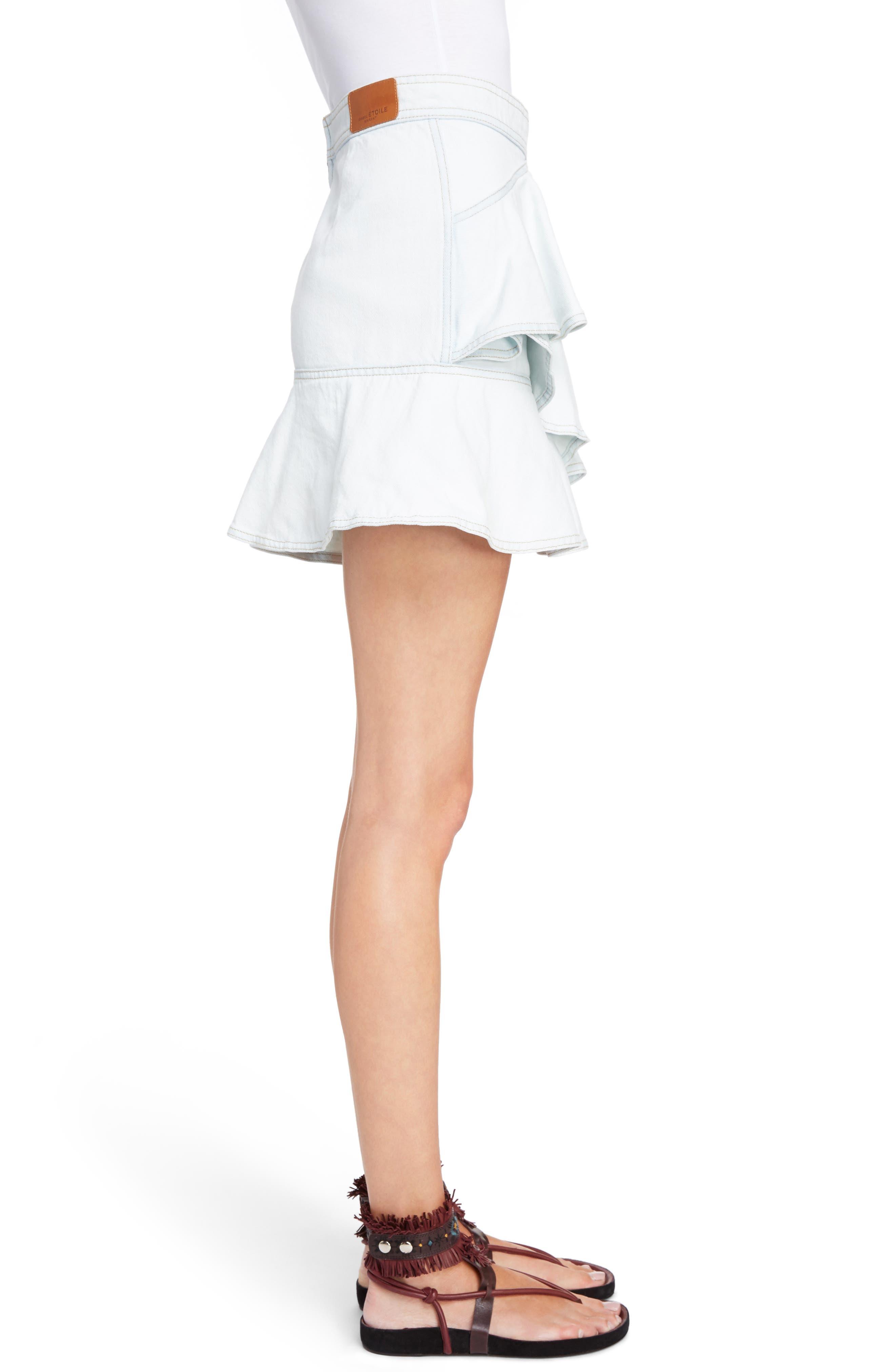 Coati Ruffle Denim Skirt,                             Alternate thumbnail 3, color,                             400