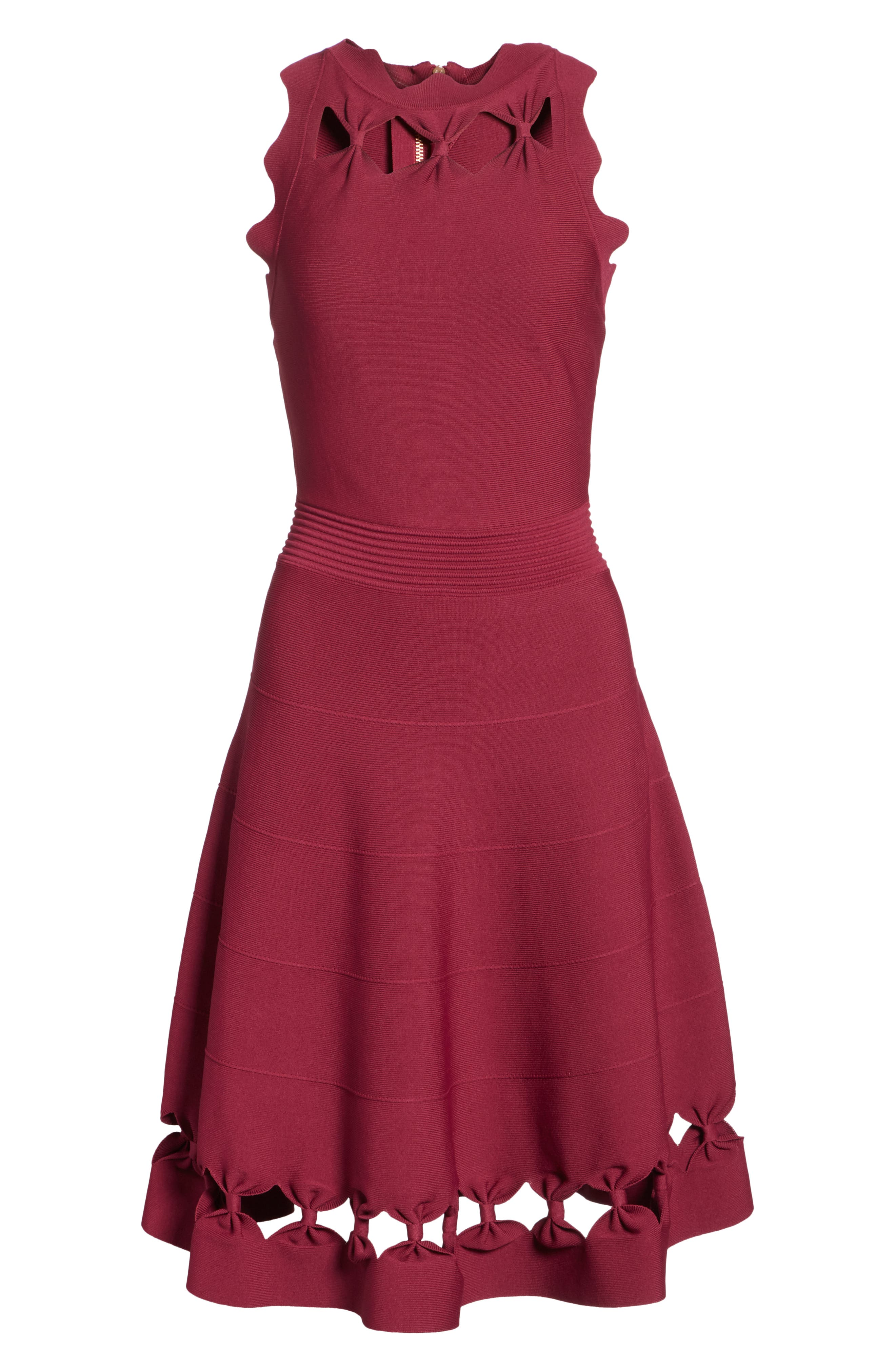 Cherina Bow Detail Fit & Flare Knit Dress,                             Alternate thumbnail 6, color,                             930