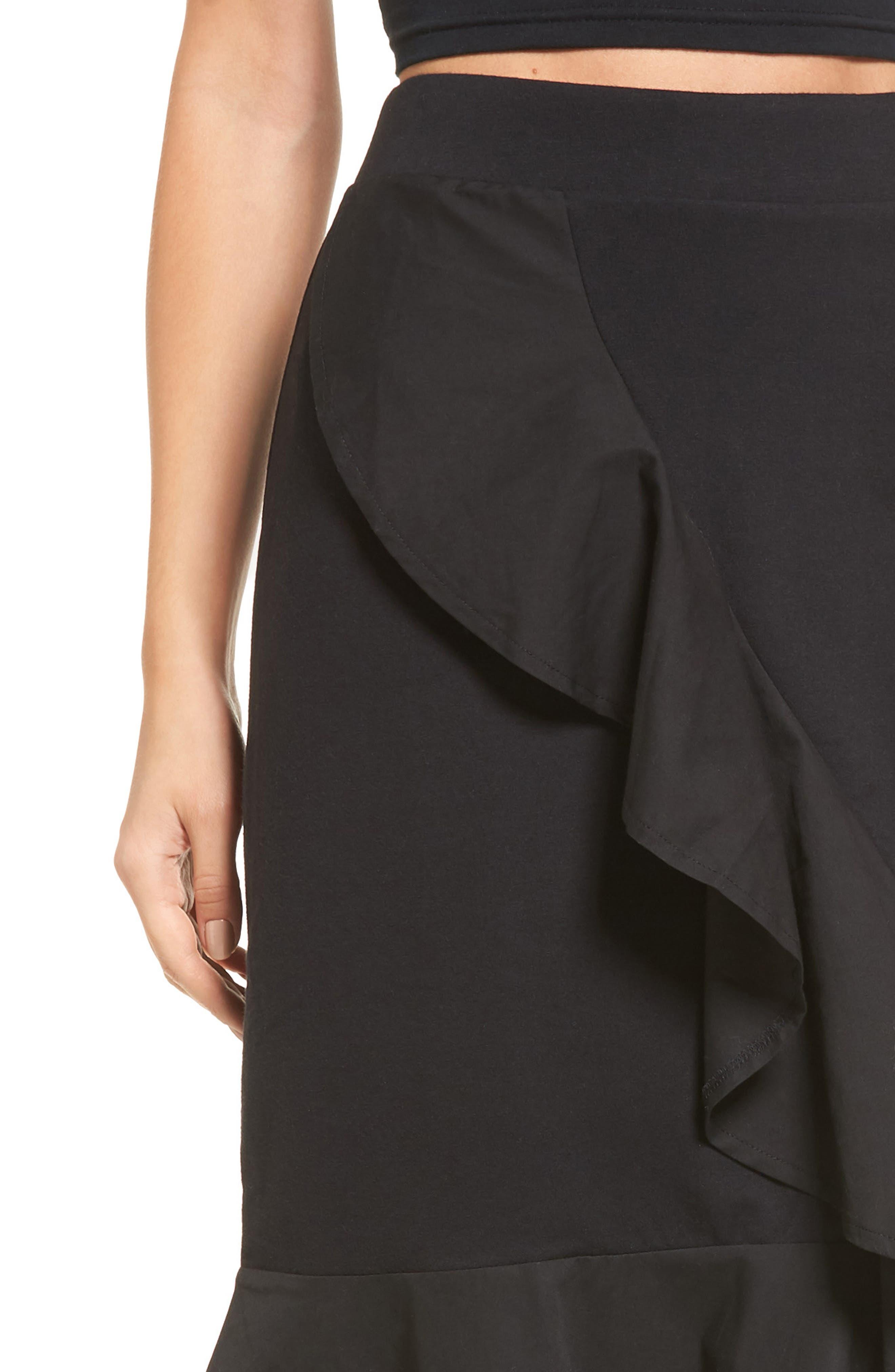 Ruffle Hem Skirt,                             Alternate thumbnail 4, color,                             001