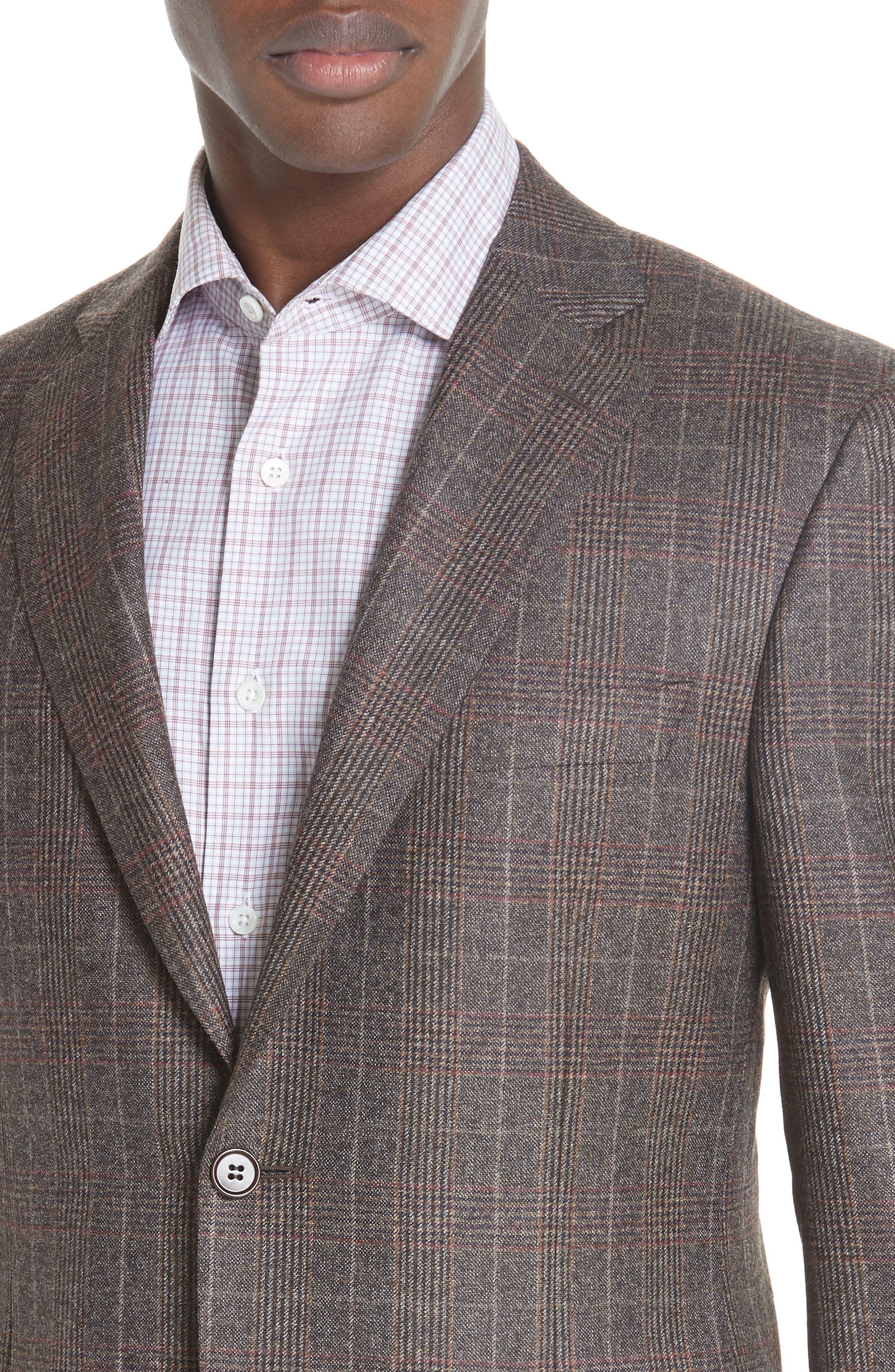 CANALI,                             Classic Fit Plaid Wool Sport Coat,                             Alternate thumbnail 4, color,                             200