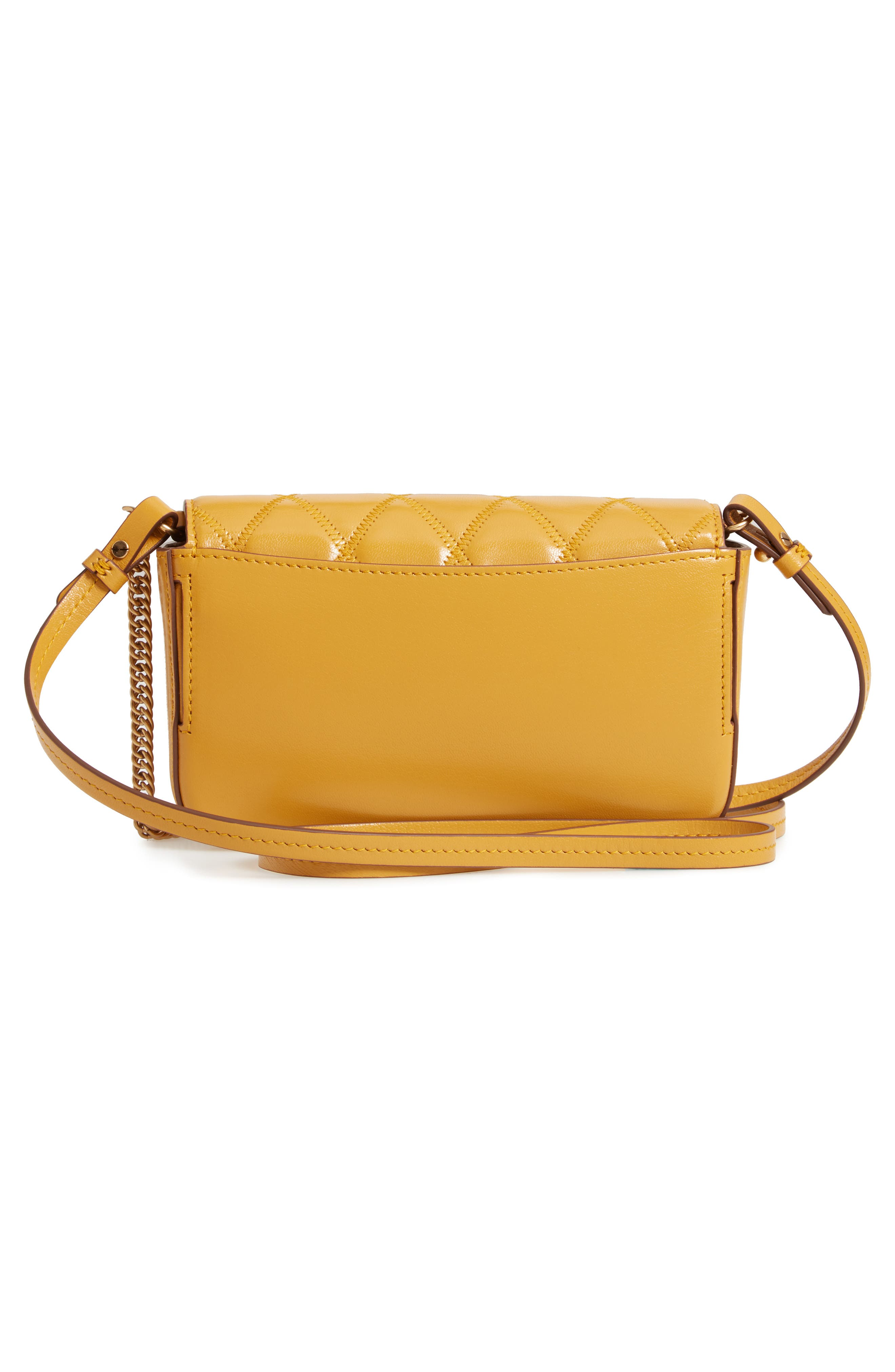 Mini Pocket Quilted Convertible Leather Bag,                             Alternate thumbnail 4, color,                             GOLDEN