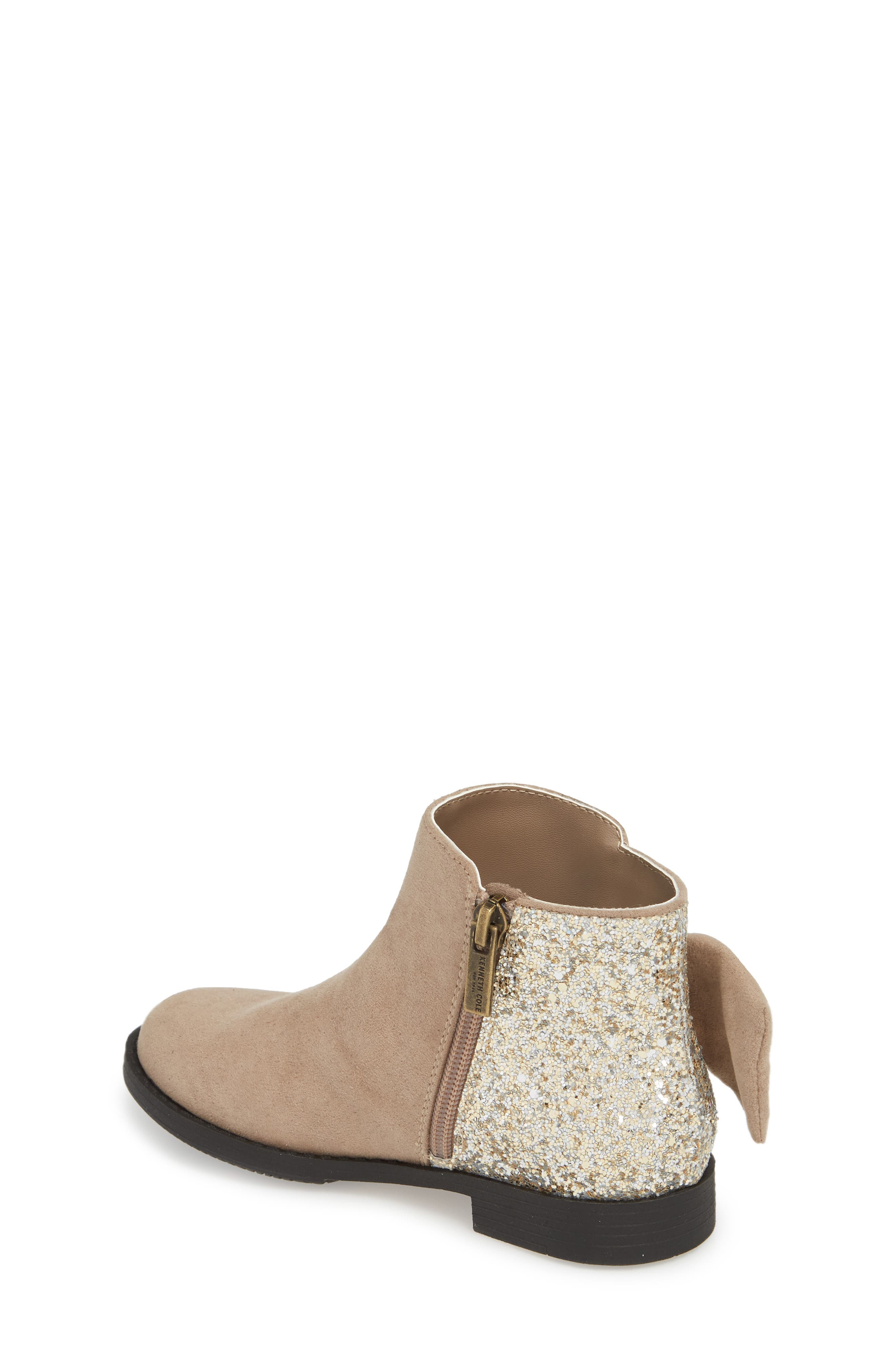 Kenneth Cole Collection Glittery Kennedy Tie Bootie,                             Alternate thumbnail 2, color,                             TAUPE
