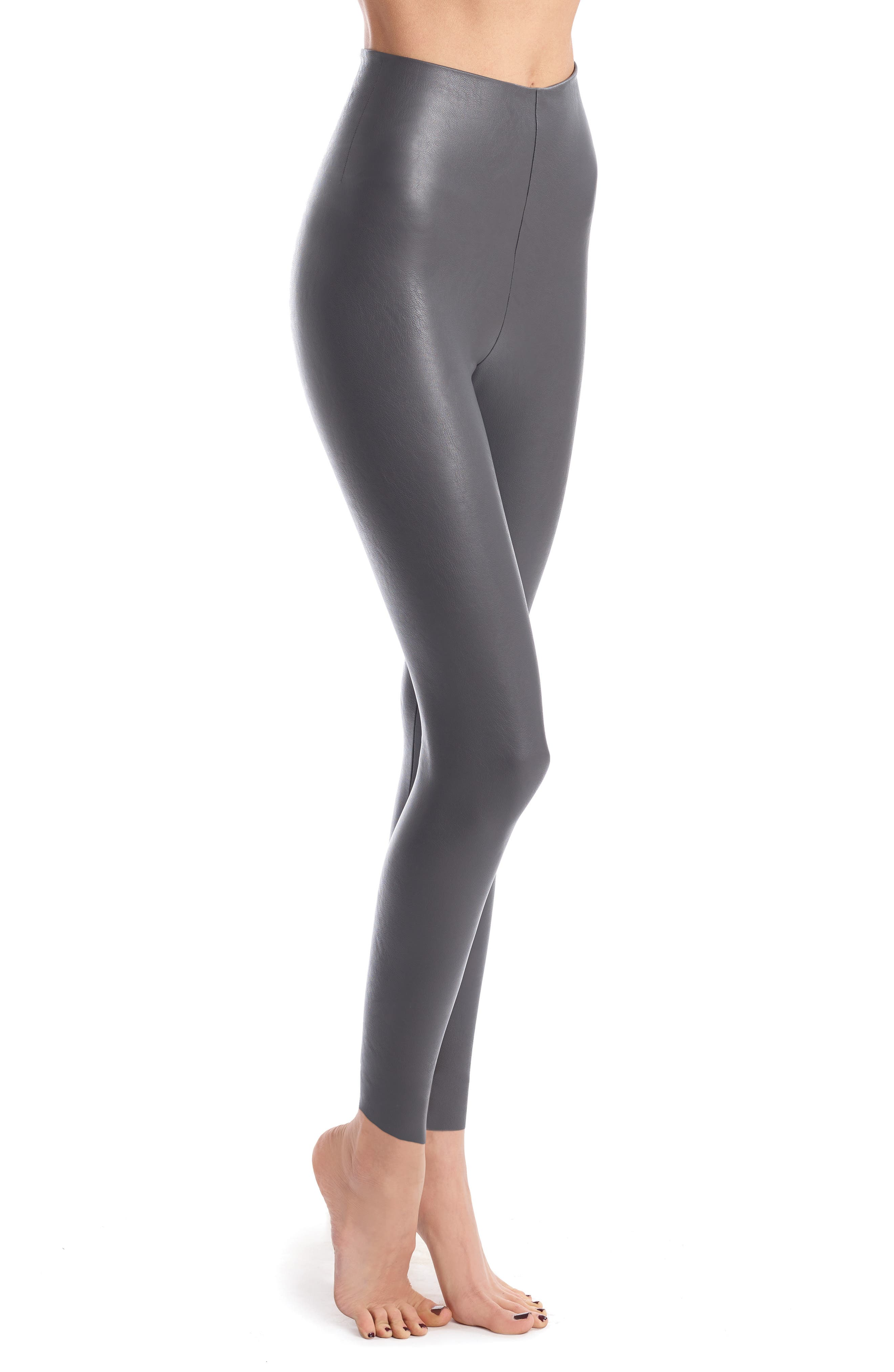 Perfect Control Faux Leather Leggings,                         Main,                         color, GRAPHITE
