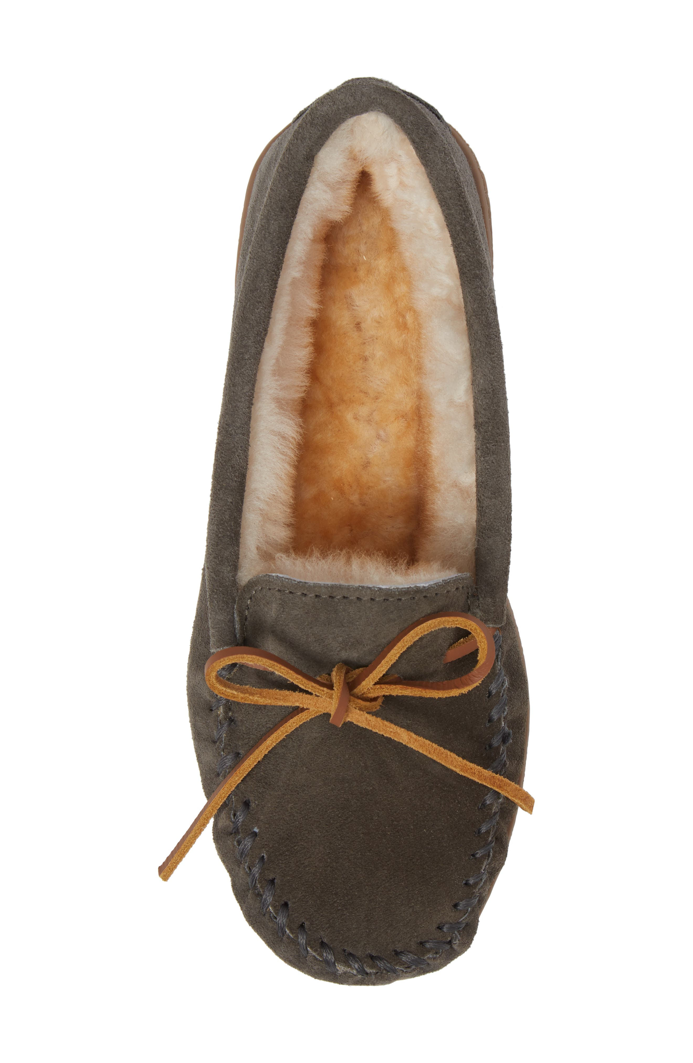 Genuine Shearling Hard Sole Moccasin Indoor/Outdoor Slipper,                             Alternate thumbnail 5, color,                             GREY