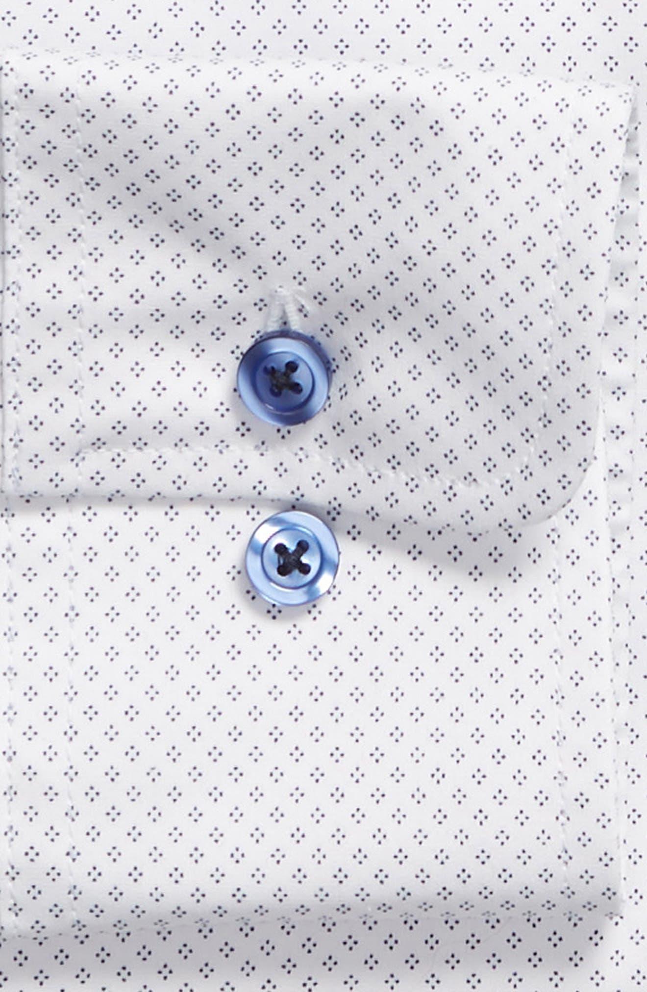 Slim Fit Diamond Dress Shirt,                             Alternate thumbnail 6, color,                             WHITE DIAMOND DOT