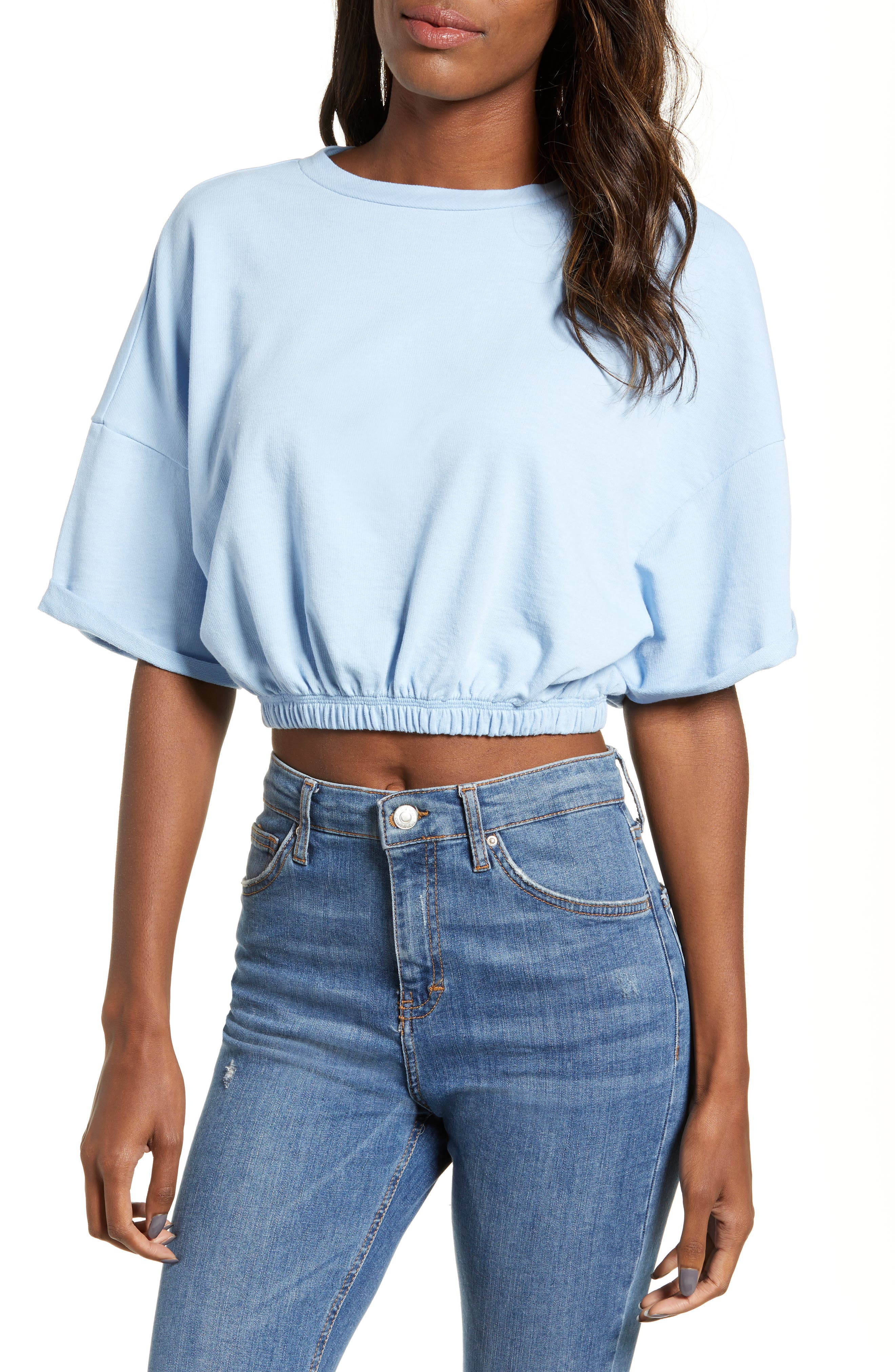 BP. Vintage Wash Crop Short Sleeve Sweatshirt, Main, color, BLUE PLACID