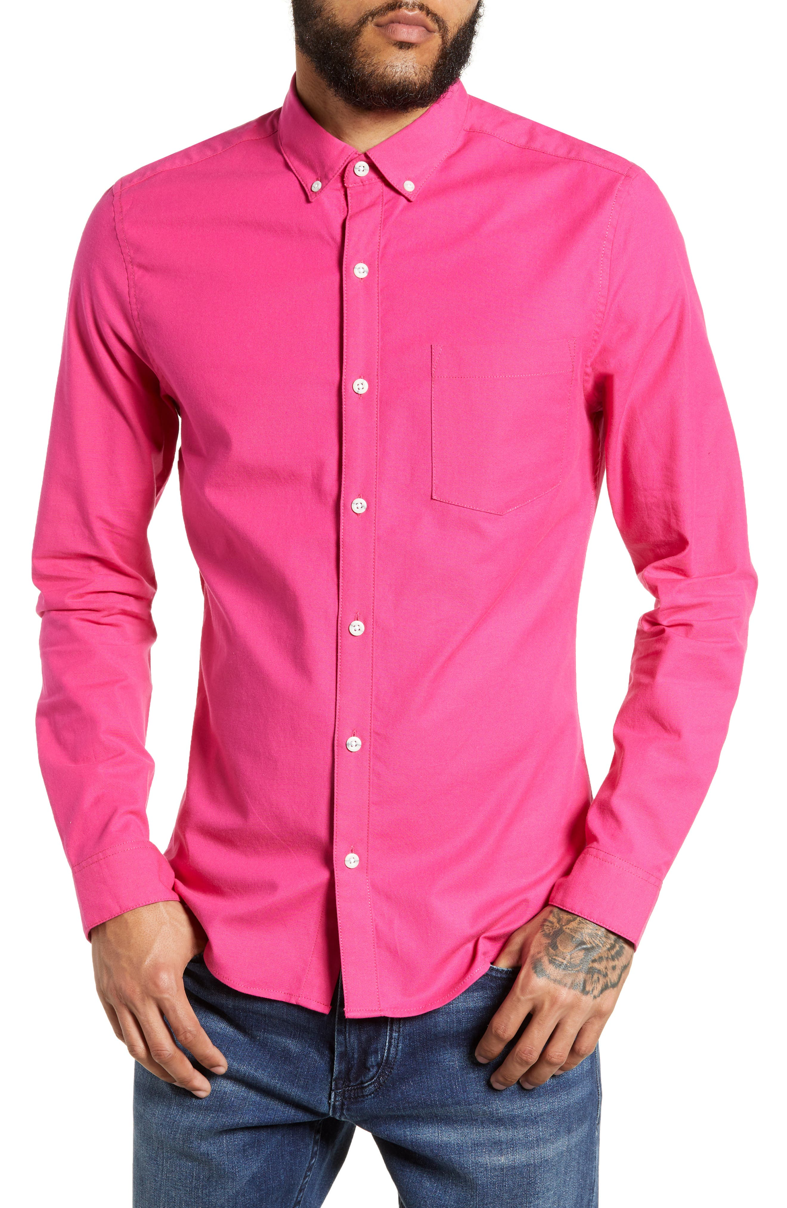 Classic Fit Oxford Shirt,                             Main thumbnail 1, color,                             PINK MULTI