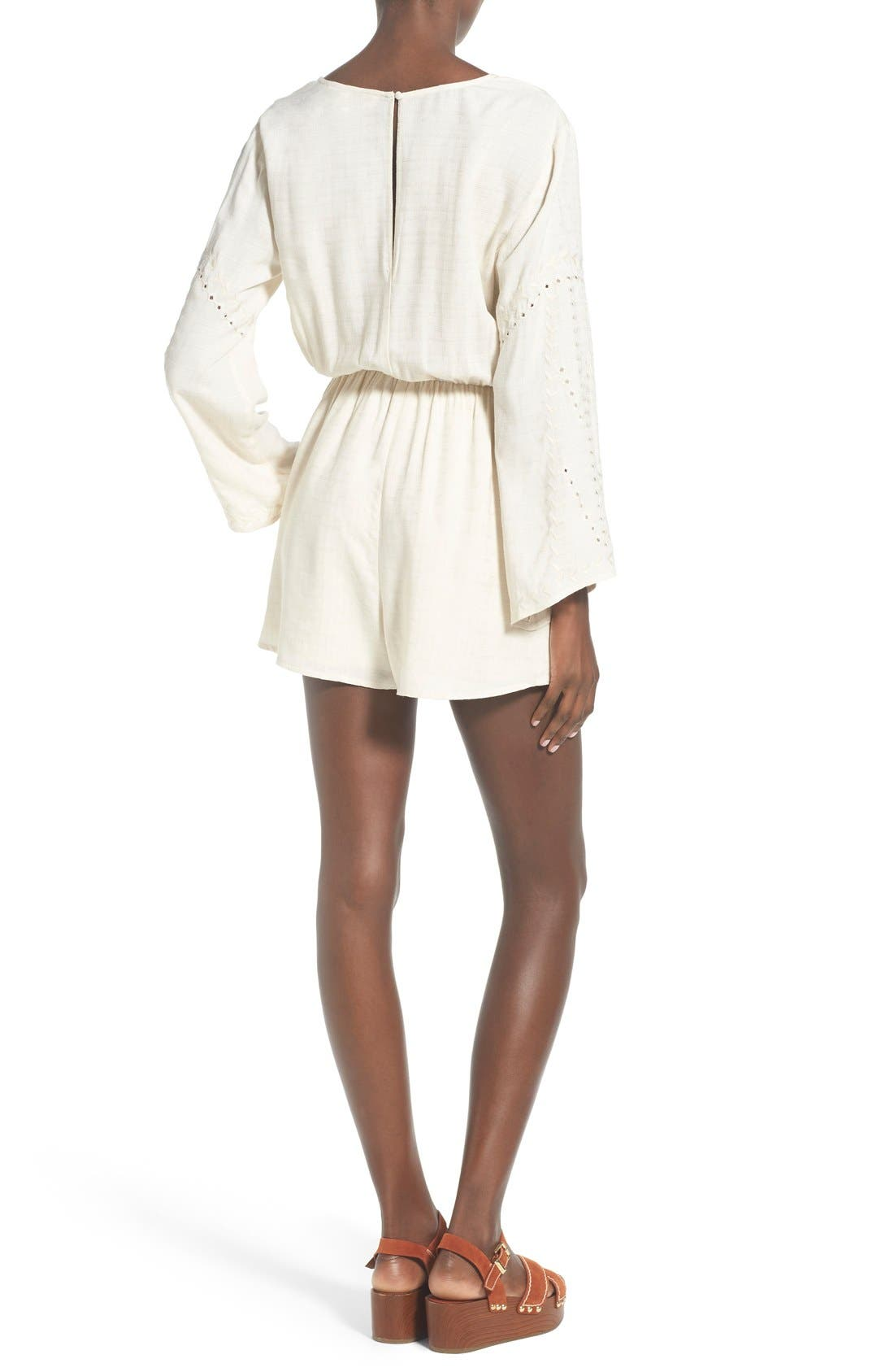 ASTR Embroidered Bell Sleeve Romper,                             Alternate thumbnail 2, color,                             902