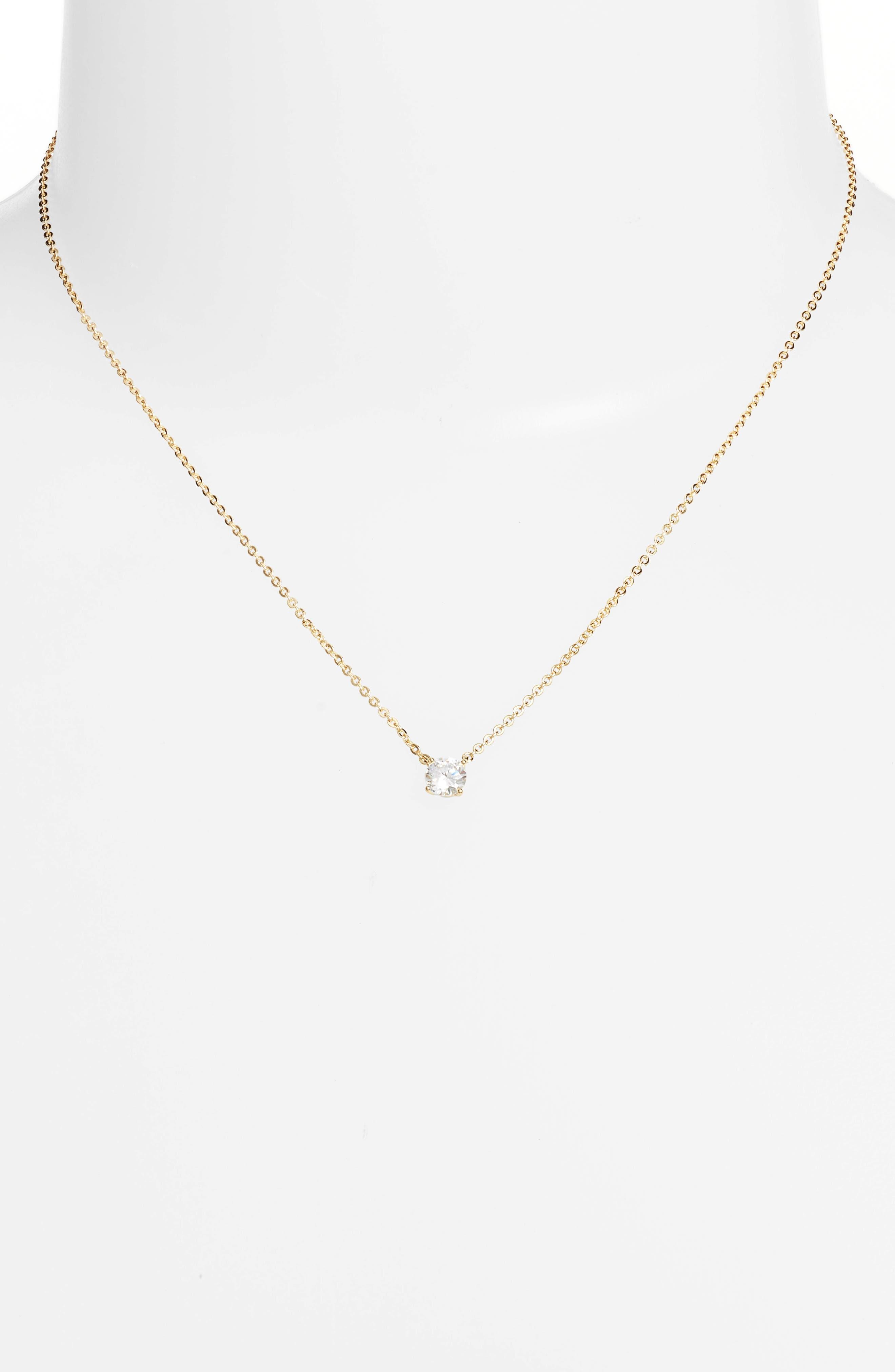 Cubic Zirconia Pendant Necklace,                             Alternate thumbnail 2, color,                             CLEAR- GOLD