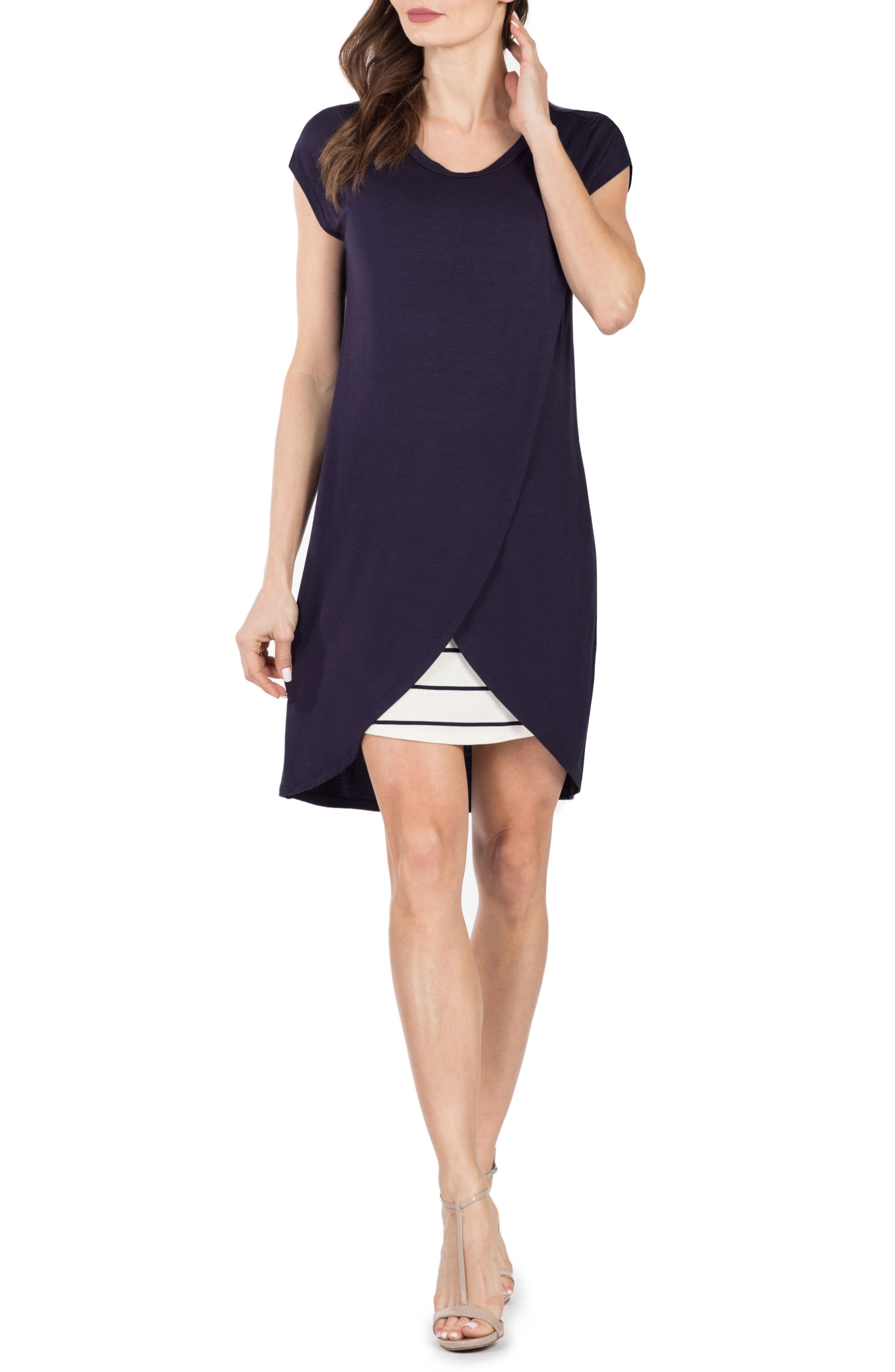 Lille Layered Maternity/Nursing Sheath Dress,                         Main,                         color, NAVY/ WHITE STRIPE