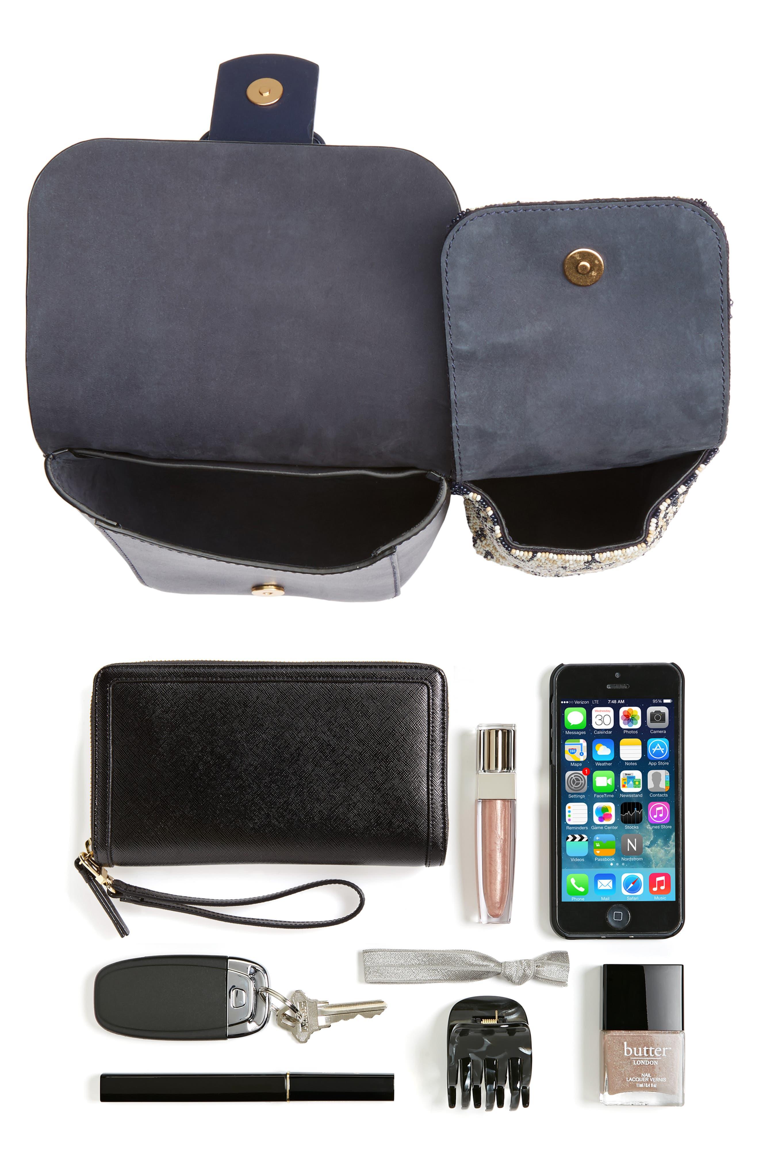 Sawyer Embellished Double Pocket Leather Shoulder Bag,                             Alternate thumbnail 7, color,                             400