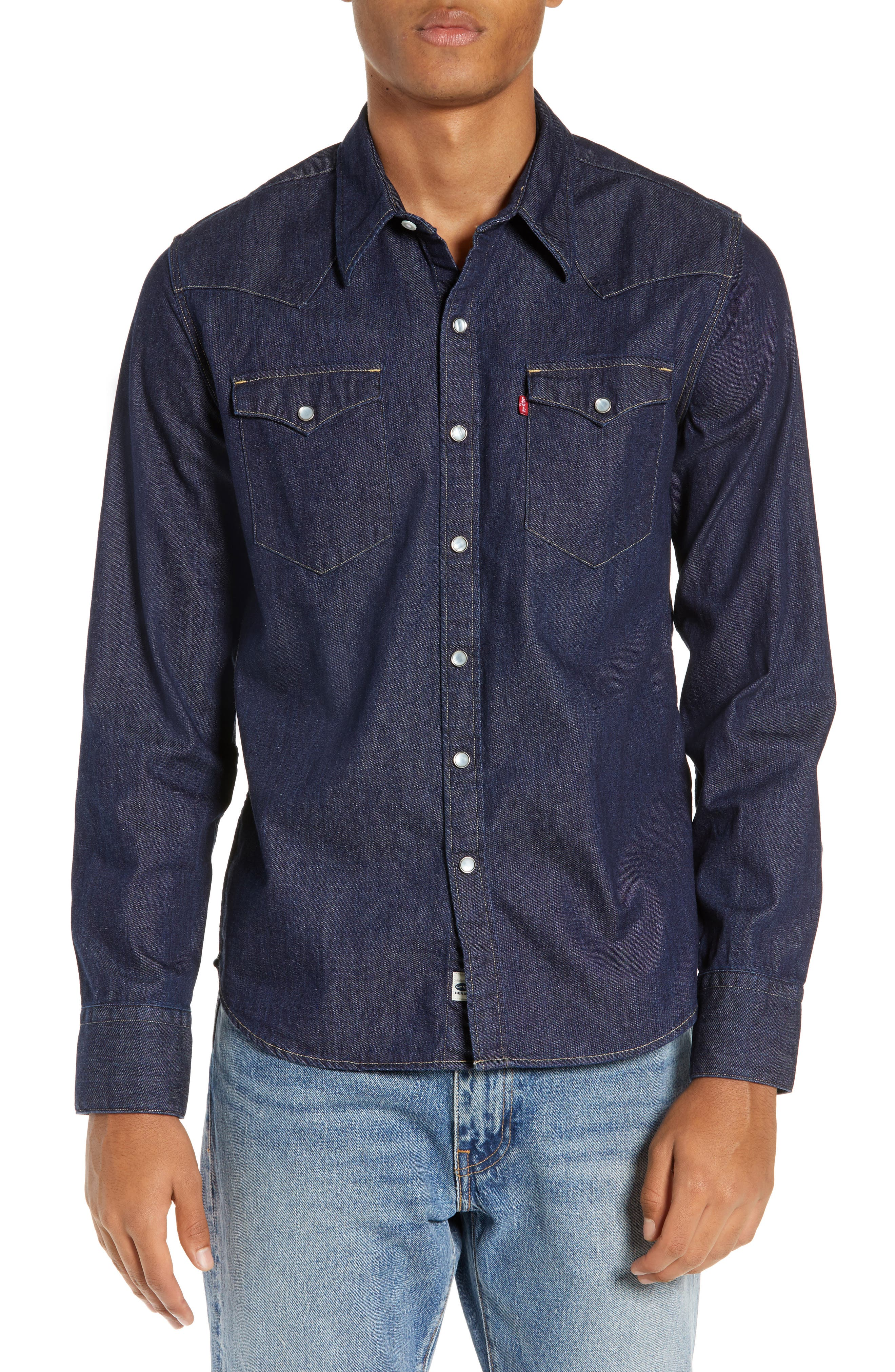 LEVI'S<SUP>®</SUP>,                             Barstow Denim Western Shirt,                             Main thumbnail 1, color,                             RED CAST RINSE