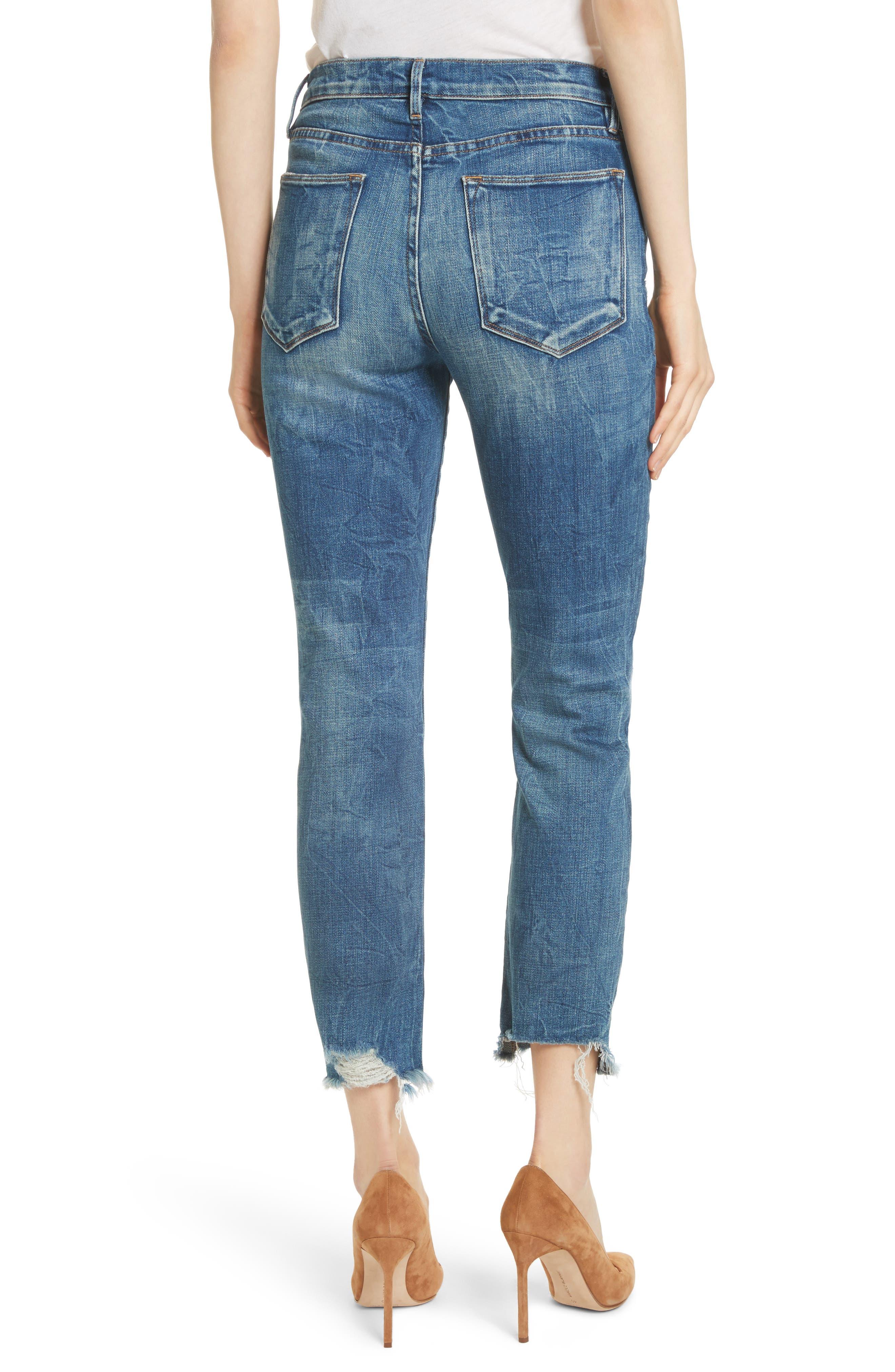Le High Raw Edge Straight Jeans,                             Alternate thumbnail 2, color,                             401
