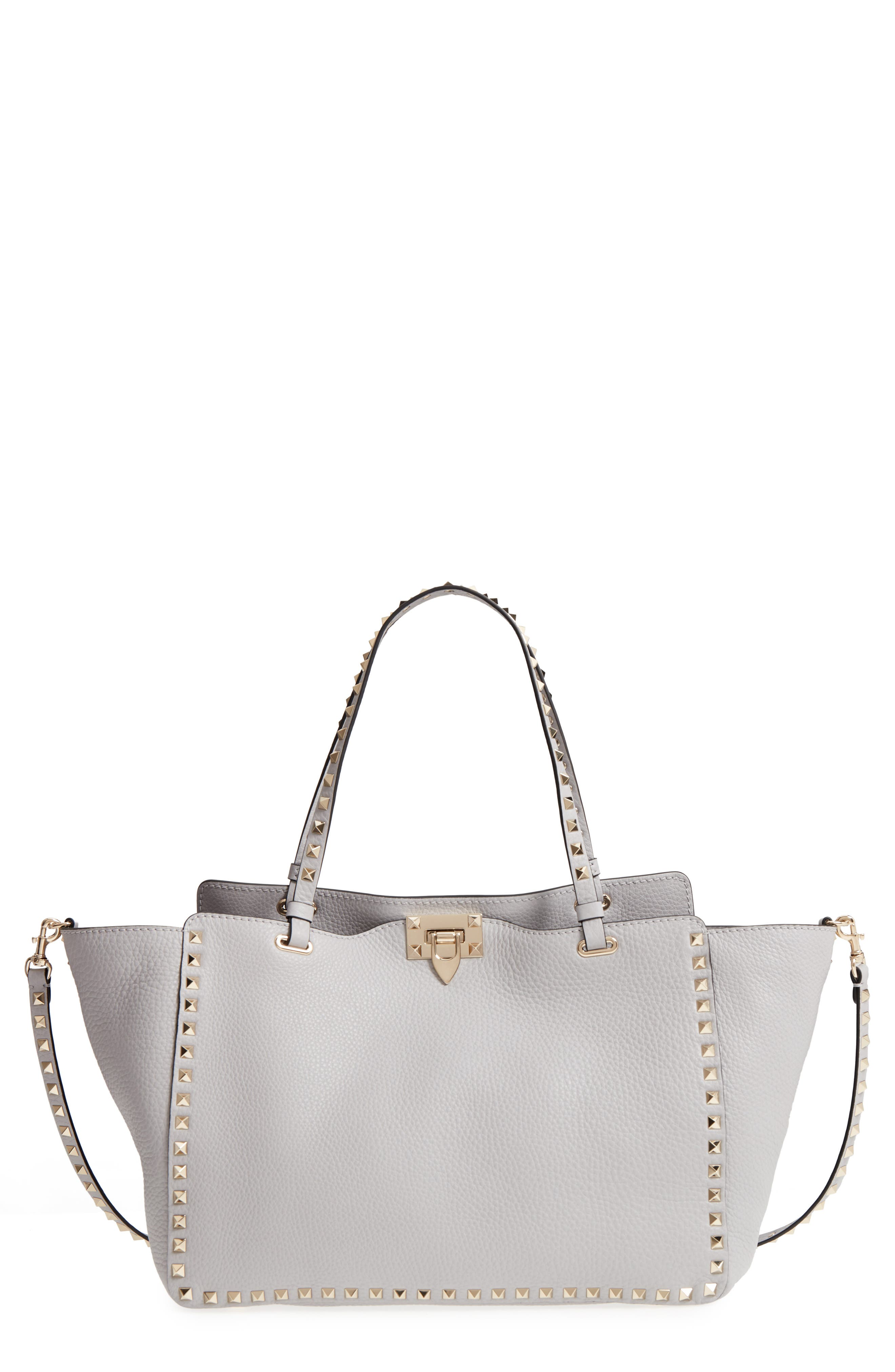 Medium Rockstud Leather Tote,                             Main thumbnail 1, color,                             PASTEL GREY