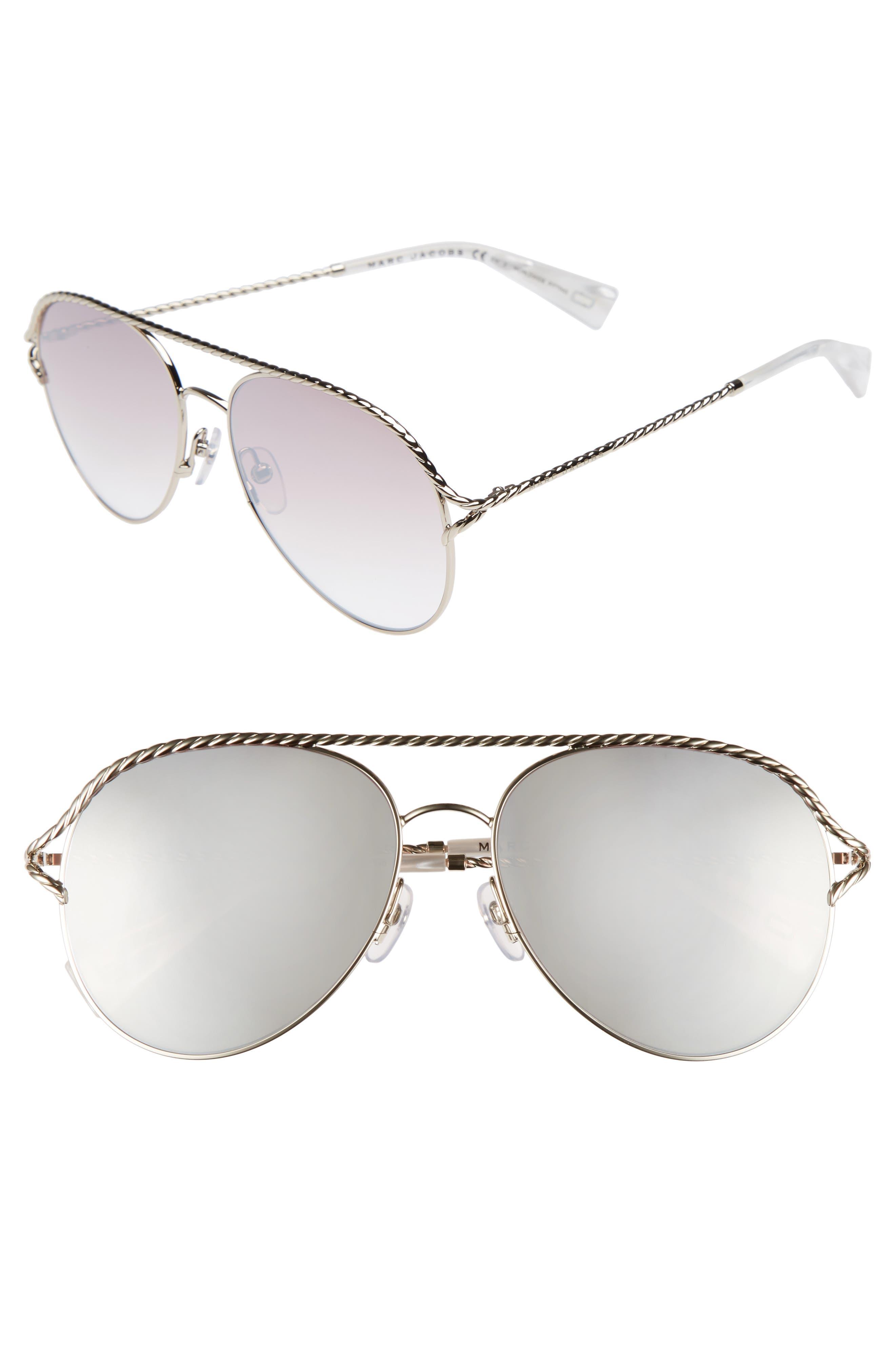58mm Aviator Sunglasses,                         Main,                         color, 100