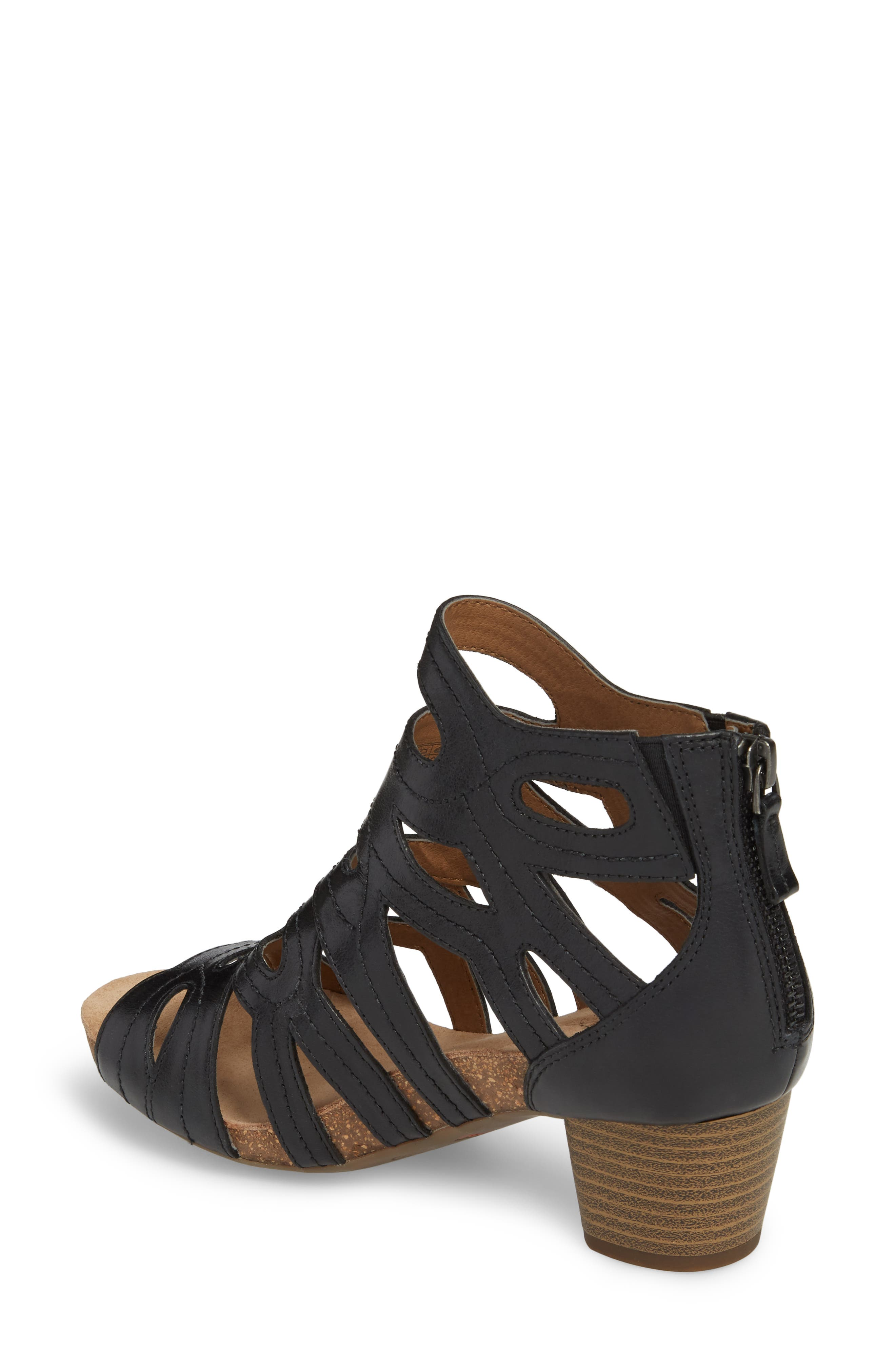 Rose 21 Gladiator Sandal,                             Alternate thumbnail 2, color,                             BLACK LEATHER
