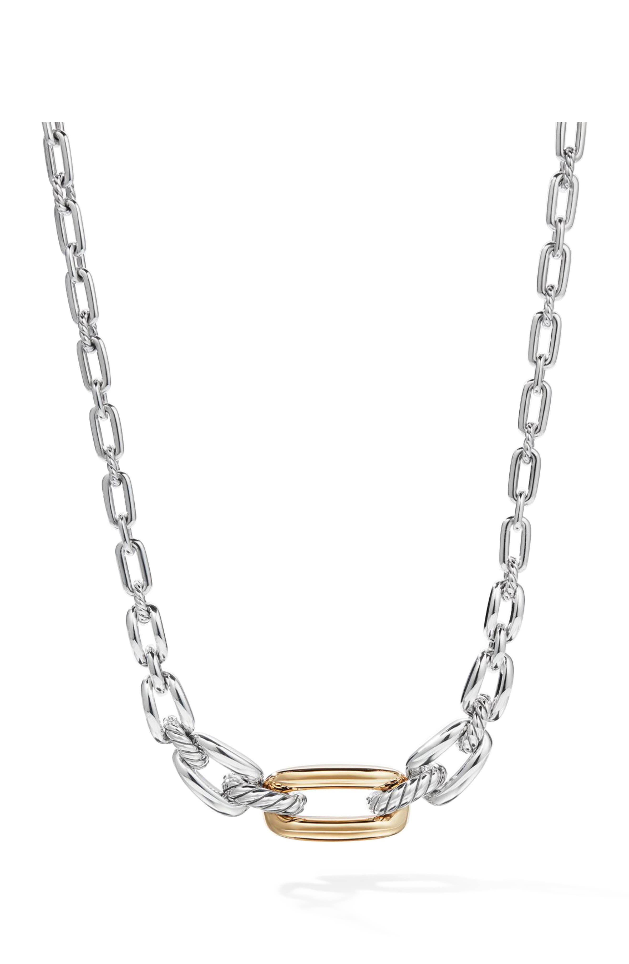 DAVID YURMAN,                             Wellesley Link Short Necklace with 18k Gold,                             Main thumbnail 1, color,                             18K YELLOW GOLD/ SILVER