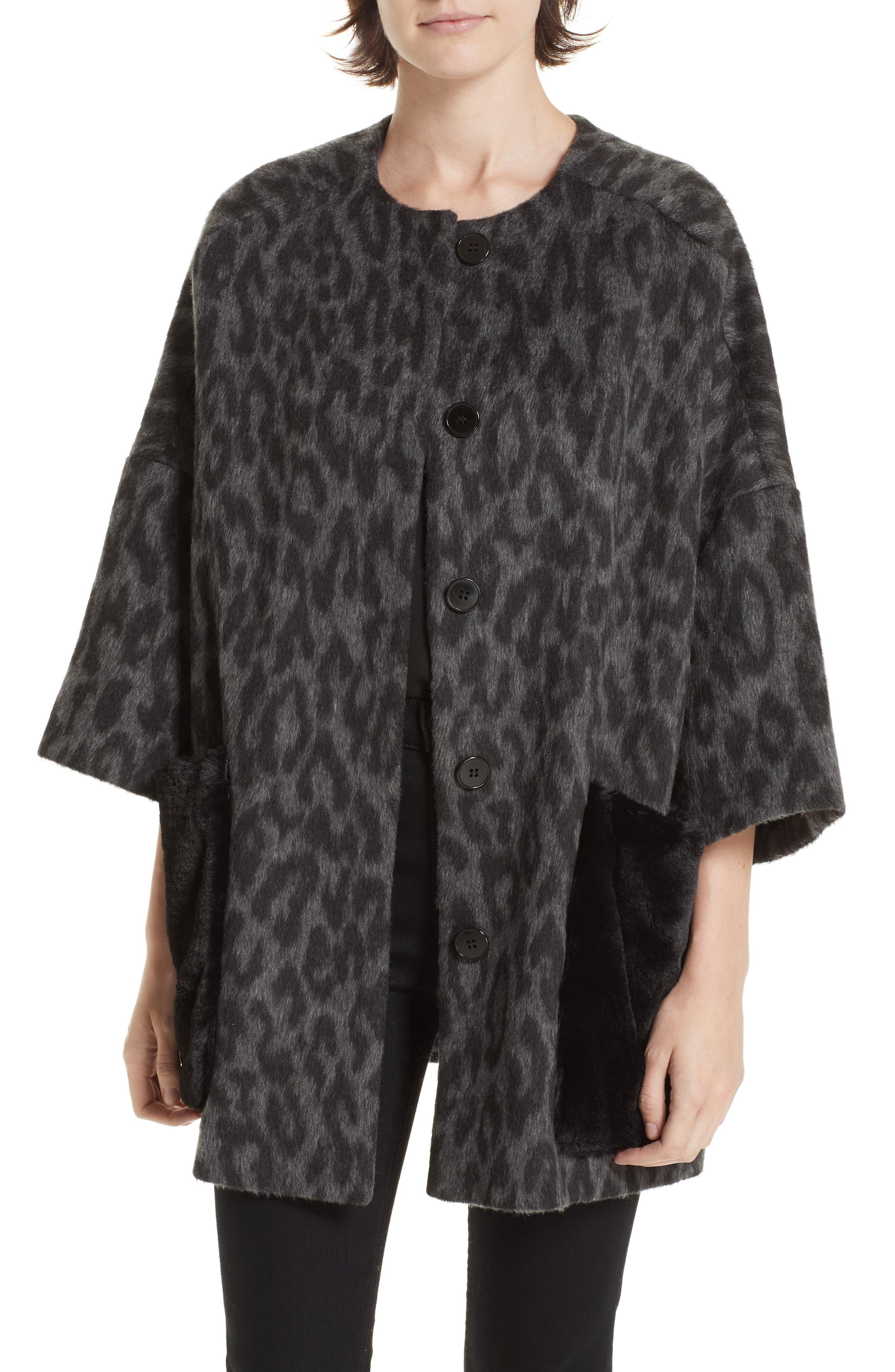 Faux Fur Kimono,                             Main thumbnail 1, color,                             FIORELLA L/ C