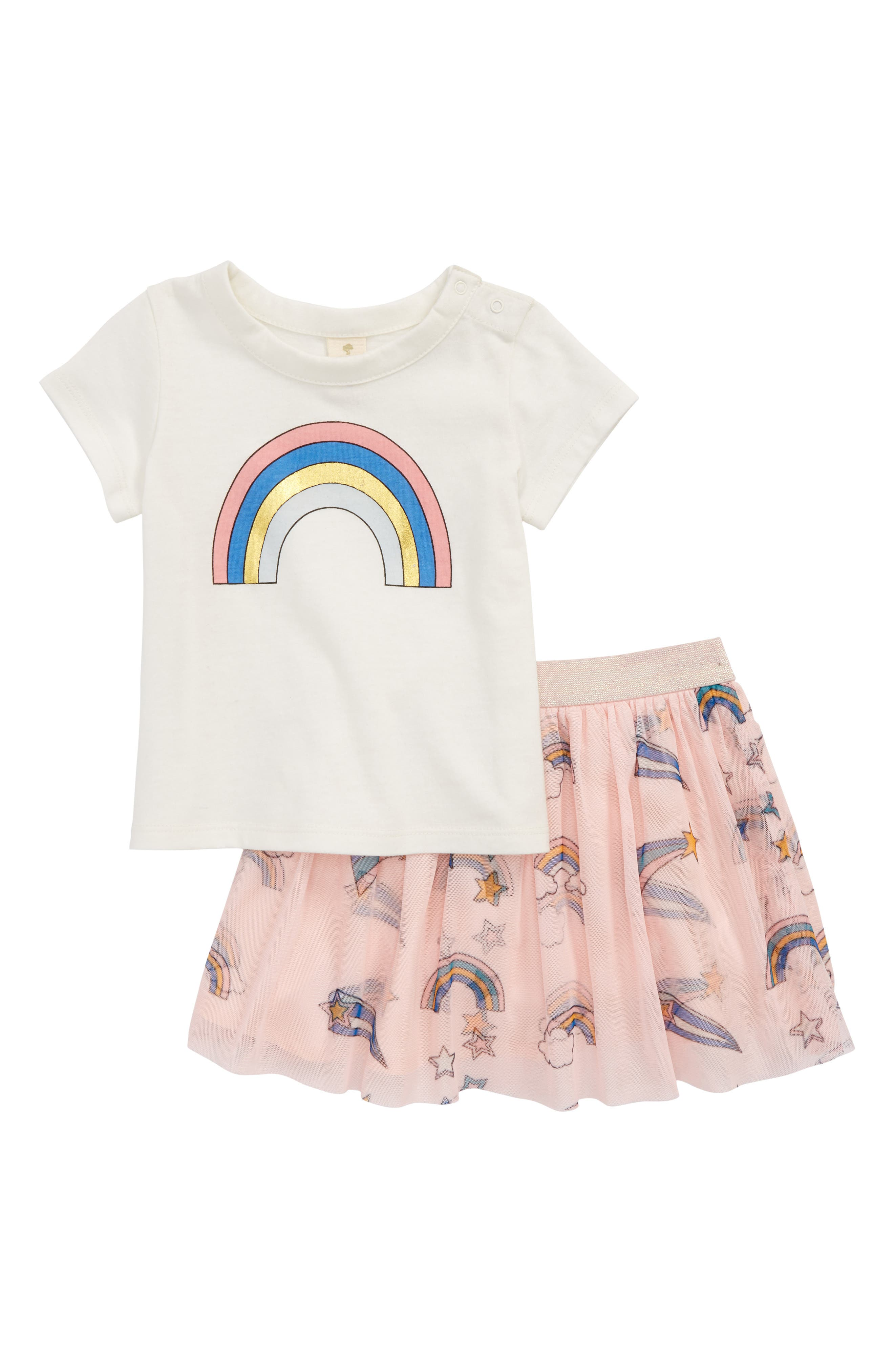 Rainbow Tee & Tutu Skirt Set,                             Main thumbnail 1, color,                             900