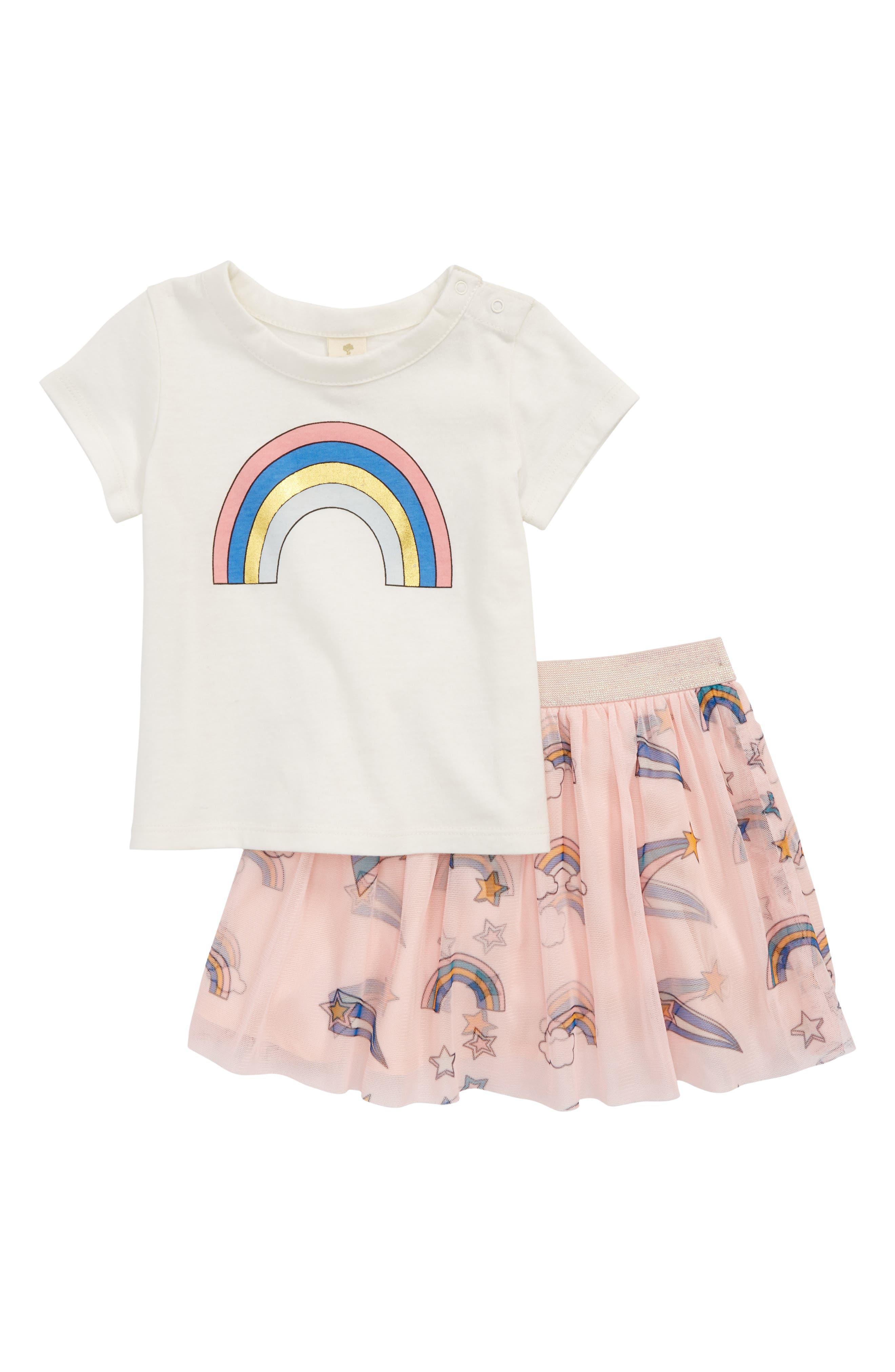 Rainbow Tee & Tutu Skirt Set,                         Main,                         color, 900