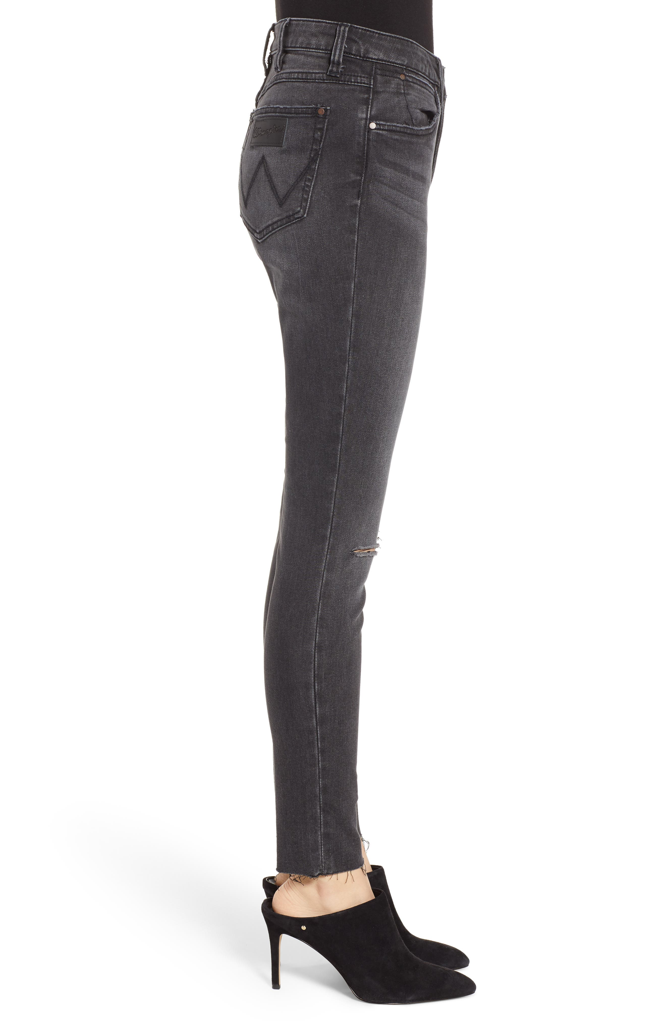 Ripped High Waist Skinny Jeans,                             Alternate thumbnail 3, color,                             GREY