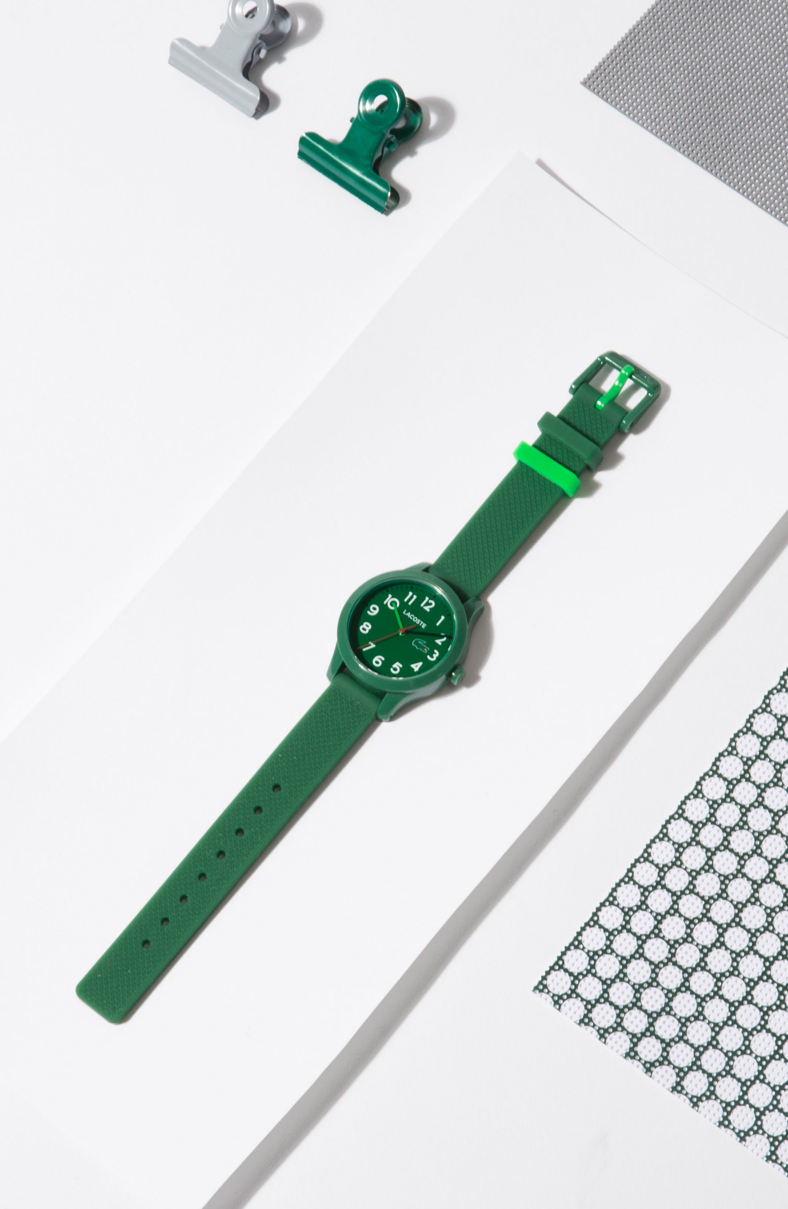 LACOSTE,                             Kids 12.12 Silicone Strap Watch, 32mm,                             Alternate thumbnail 2, color,                             GREEN