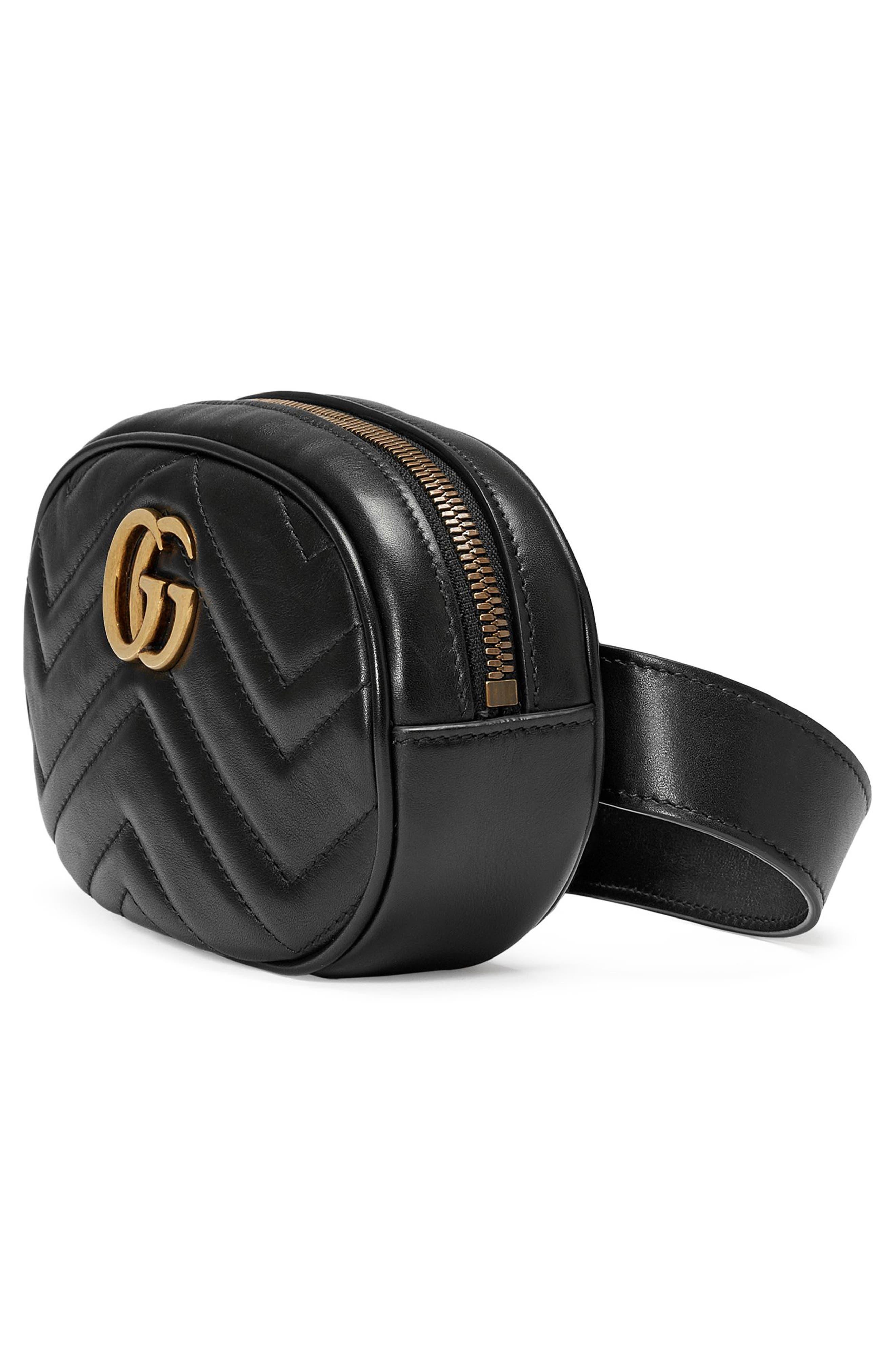 GG Marmont 2.0 Matelassé Leather Belt Bag,                             Alternate thumbnail 5, color,                             NERO