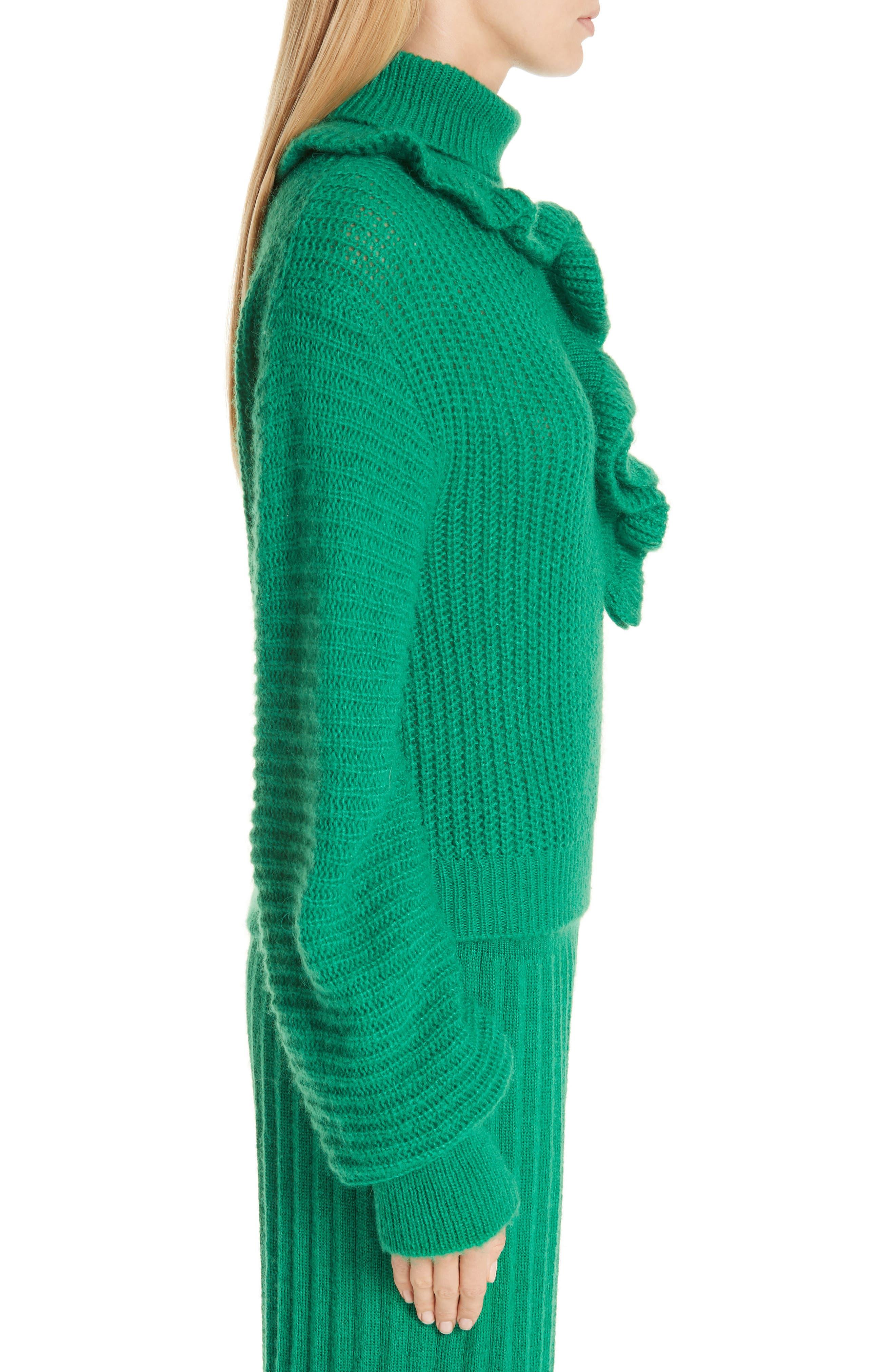 Ruffle Neck Sweater,                             Alternate thumbnail 3, color,                             GRASS GREEN