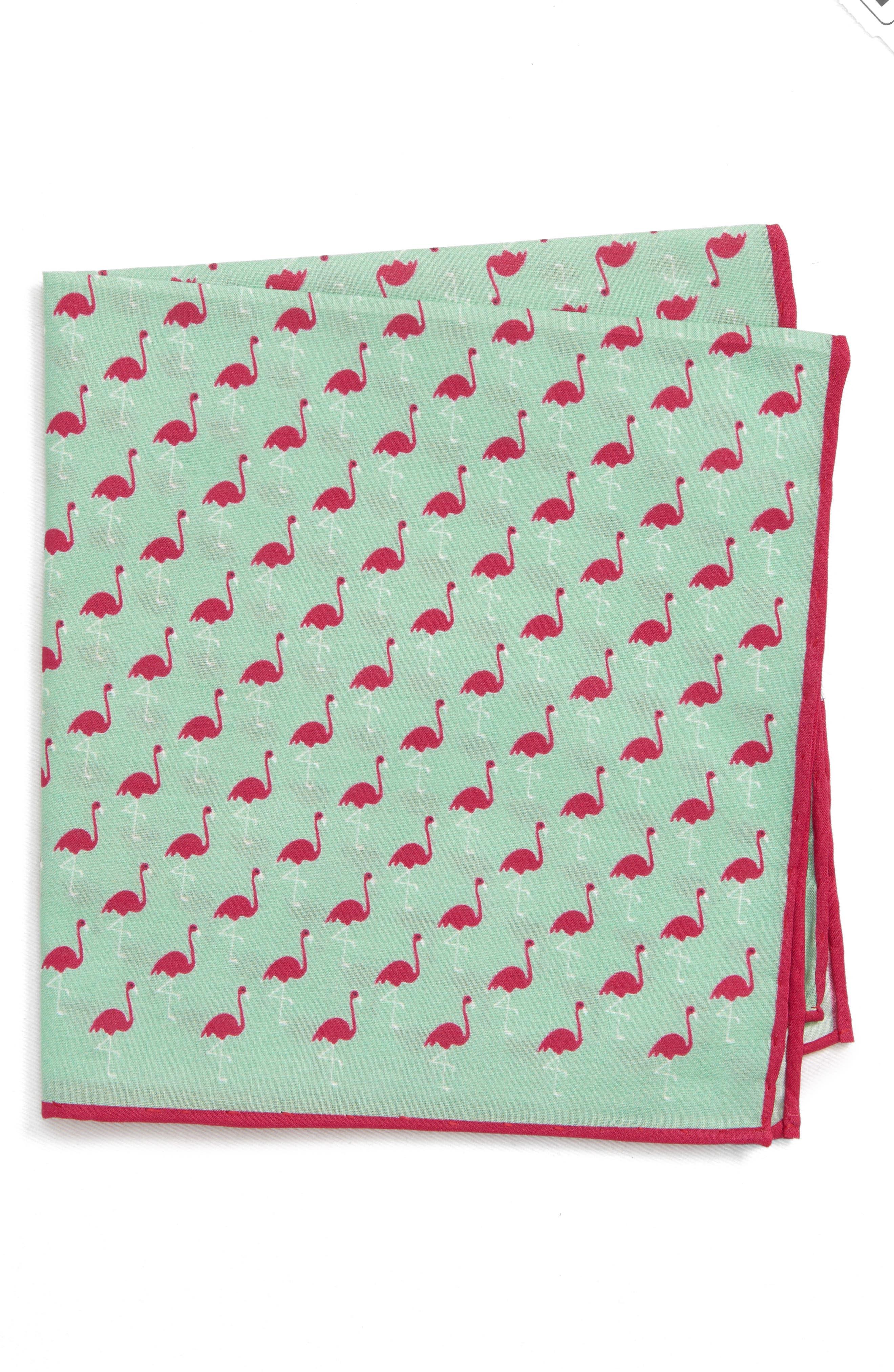 Fenwick Flamingo Cotton & Silk Pocket Square,                             Main thumbnail 1, color,                             MINT