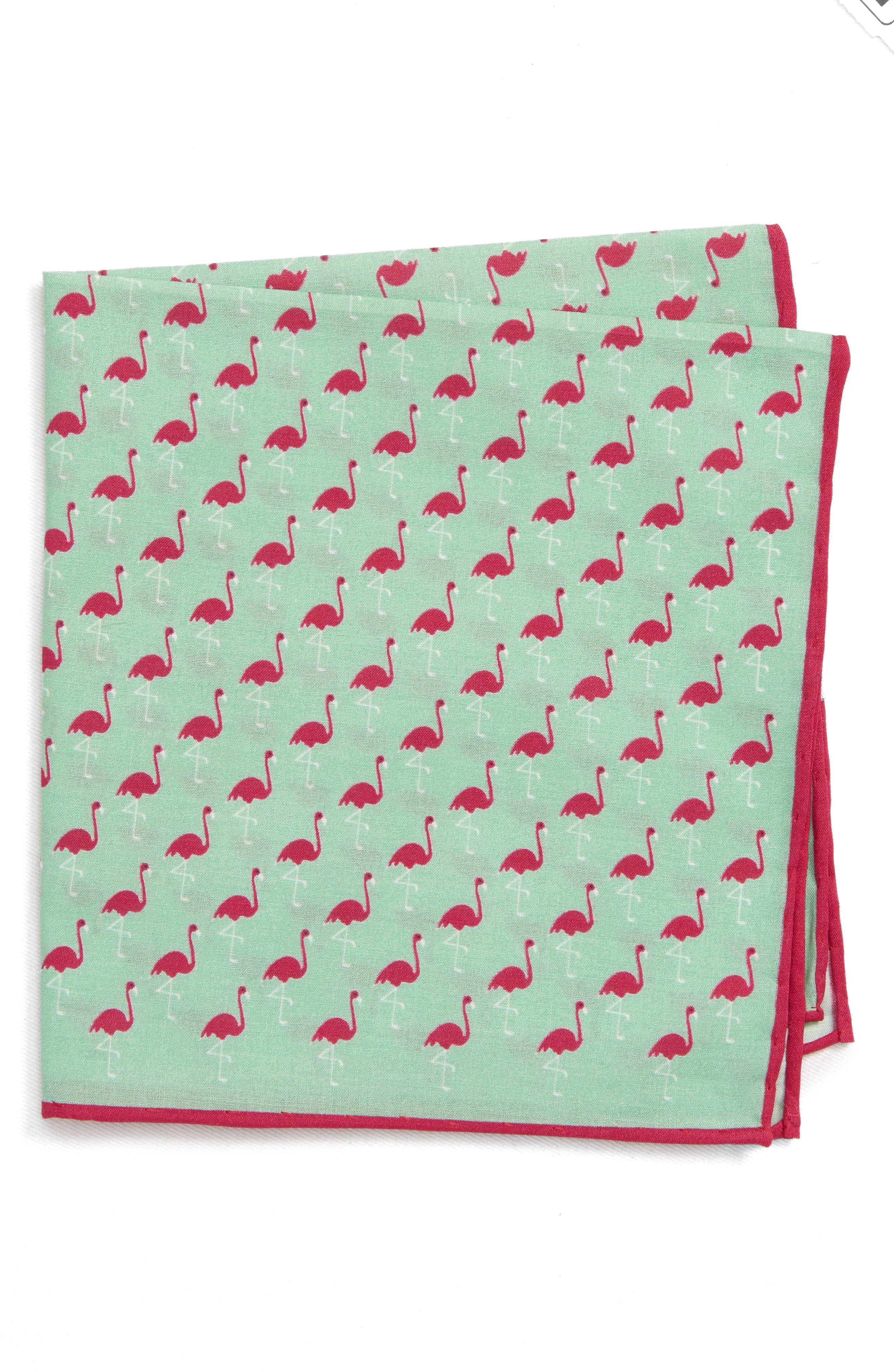 Fenwick Flamingo Cotton & Silk Pocket Square,                         Main,                         color, MINT