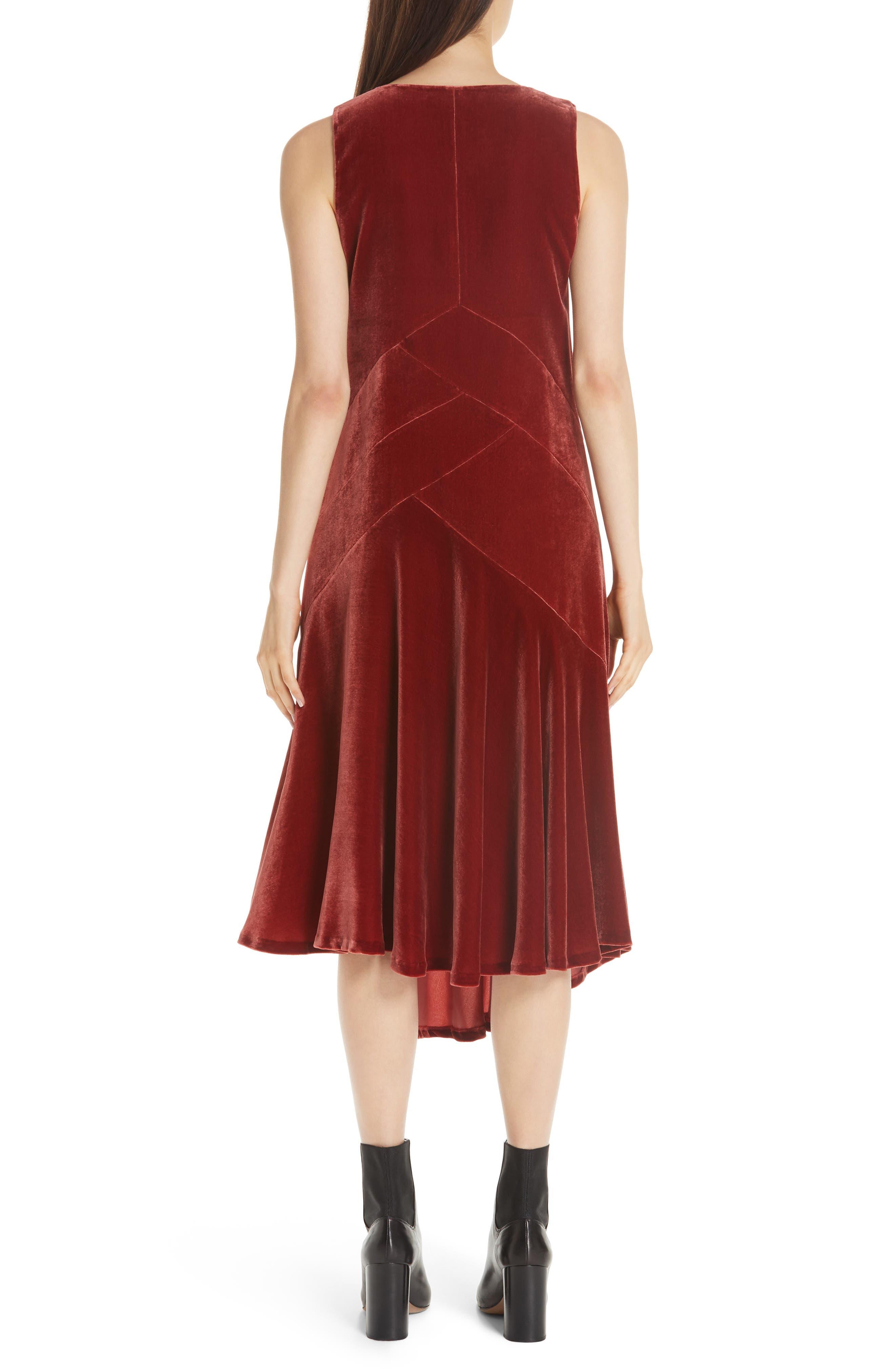 Ashlena Asymmetrical Velvet Dress,                             Alternate thumbnail 2, color,                             SAFFRON