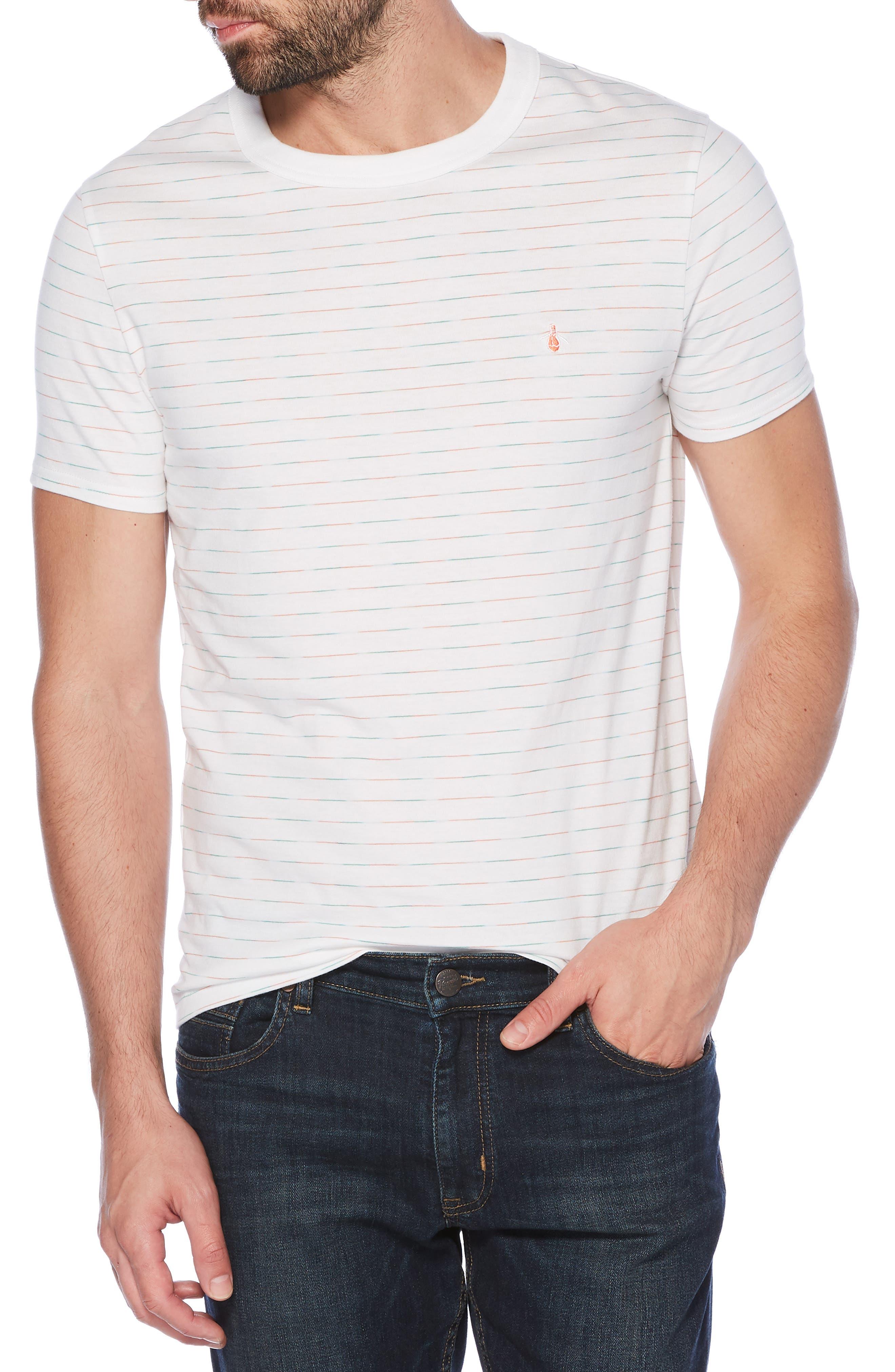Space Dye Stripe T-Shirt, Main, color, BRIGHT WHITE