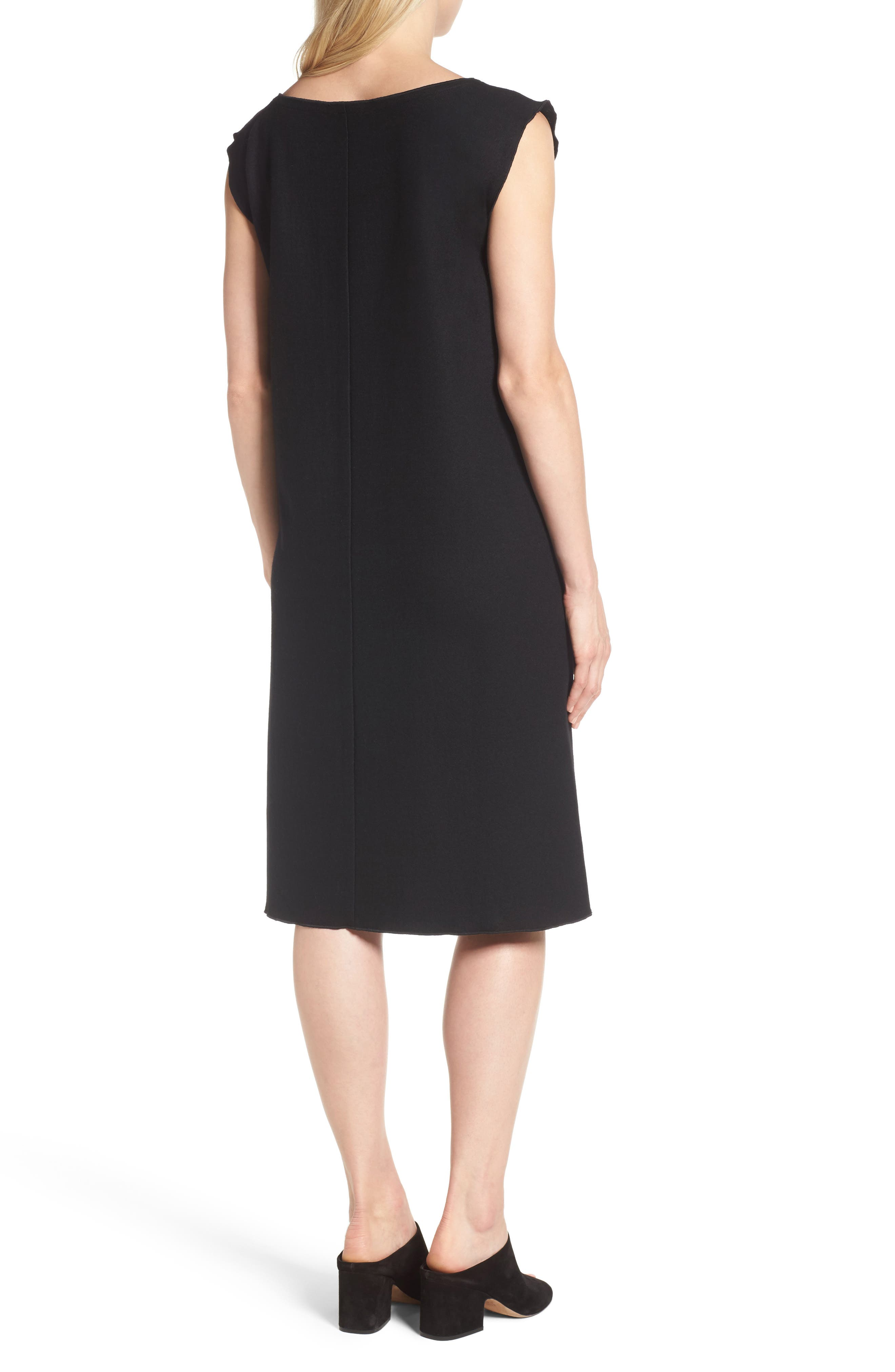 Wool Jersey Shift Dress,                             Alternate thumbnail 2, color,                             001
